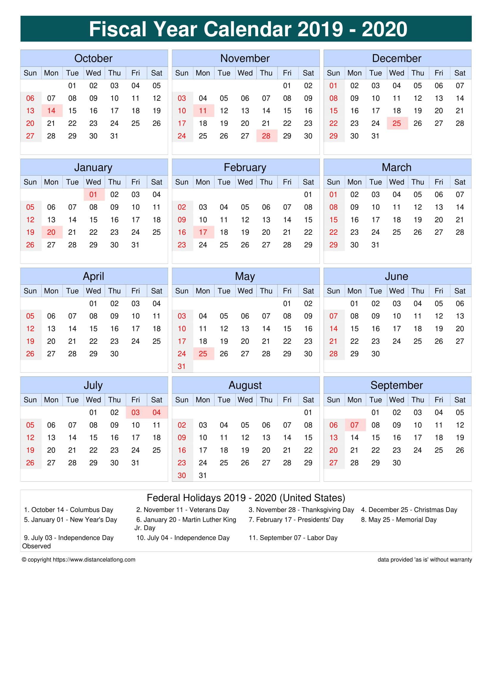 Fiscal Year 2019-2020 Calendar Templates, Free Printable inside Fiscal Calendar For October 2020