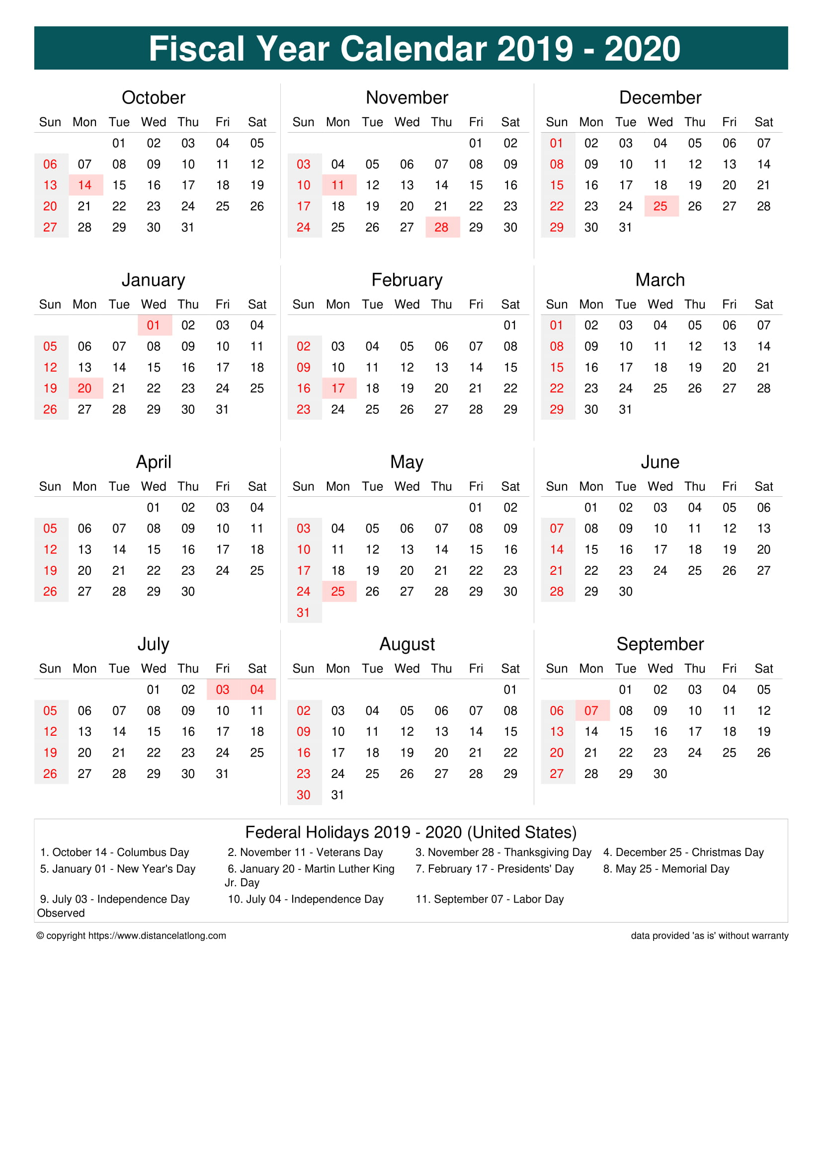Fiscal Year 2019-2020 Calendar Templates, Free Printable throughout Fiscal Calendar For October 2020