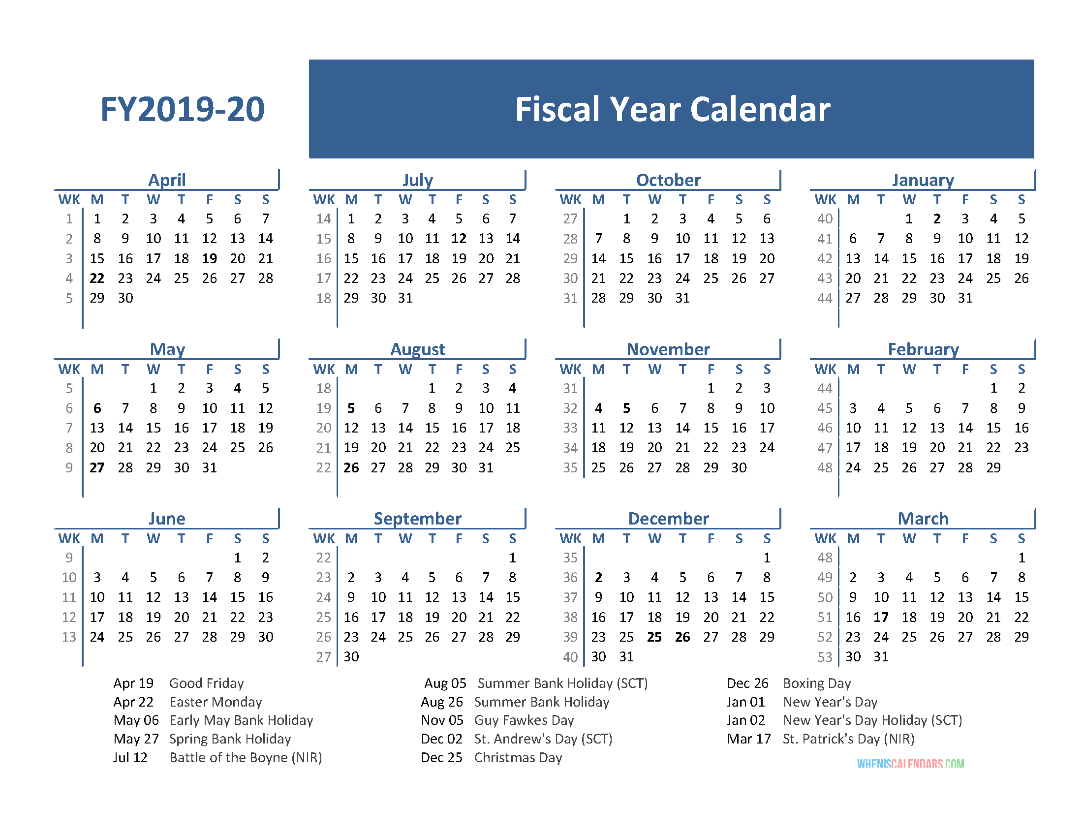 Fiscal Year 2019 Calendar With Holidays (April 2019-March within Fiscal Calendar For October 2020