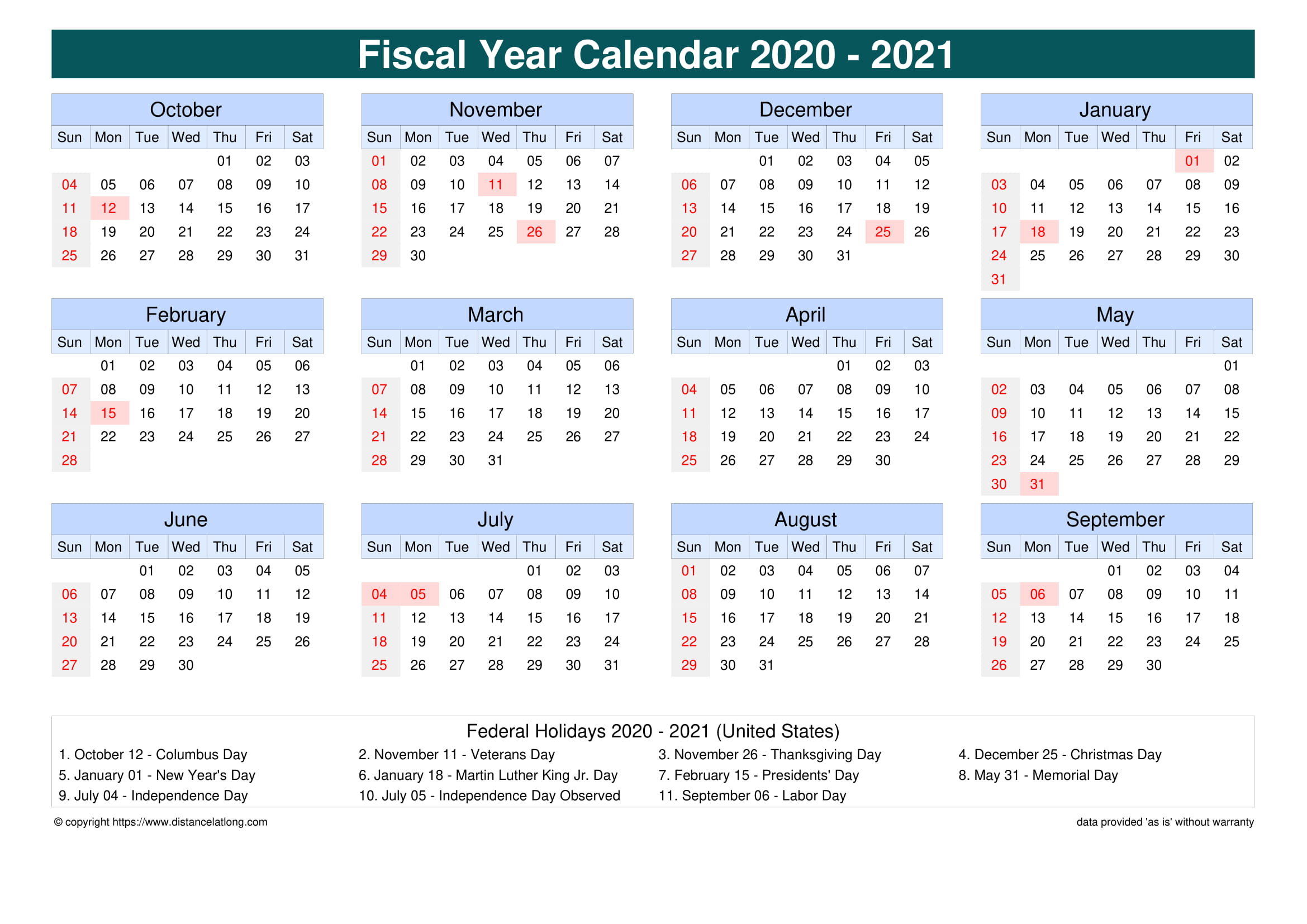 Fiscal Year 2020-2021 Calendar Templates, Free Printable within Fiscal Calendar For October 2020