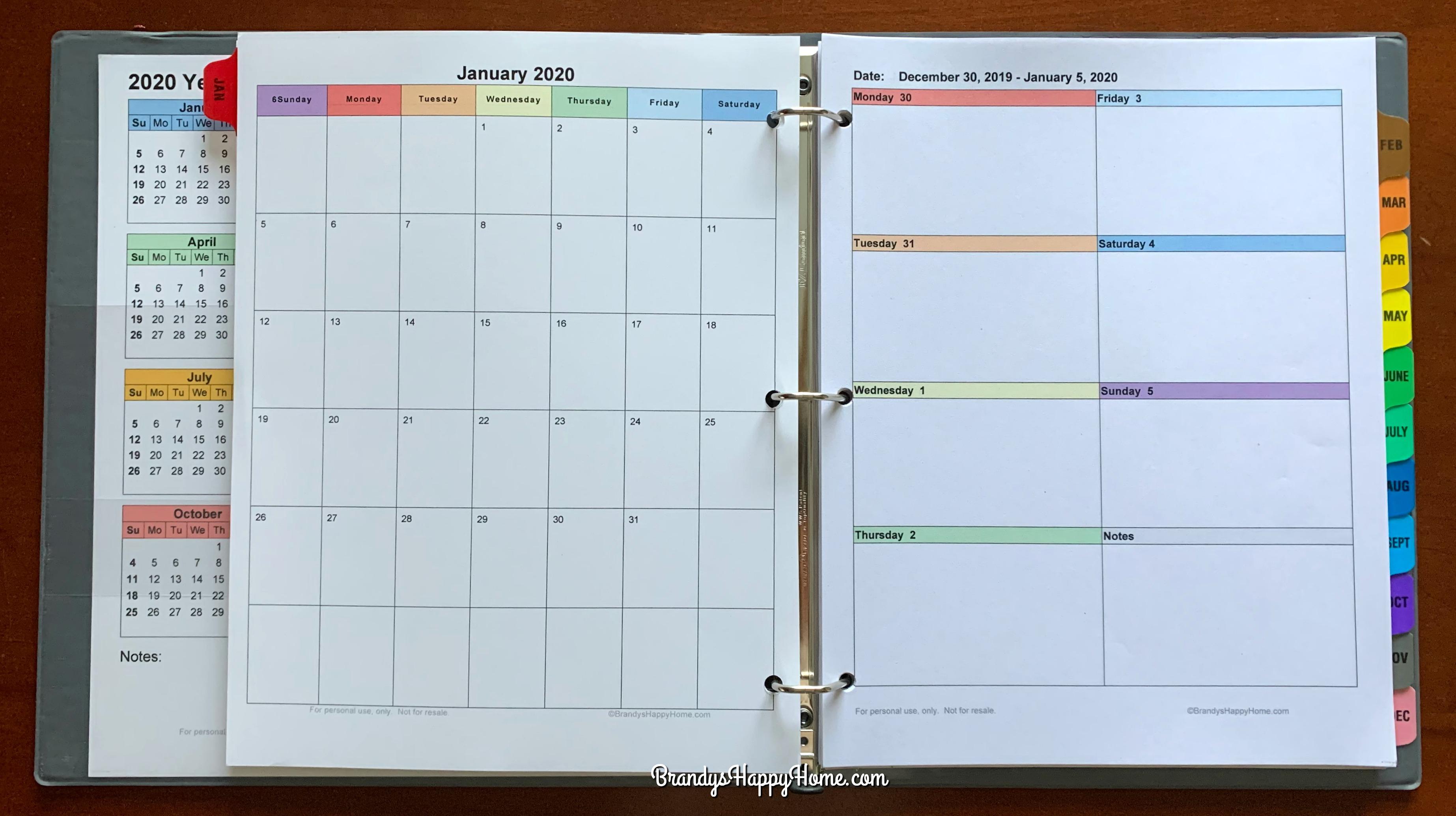 Free 2020 Diy Calendar Planner Printables for 2020 Monthly Printable Pocket Planner