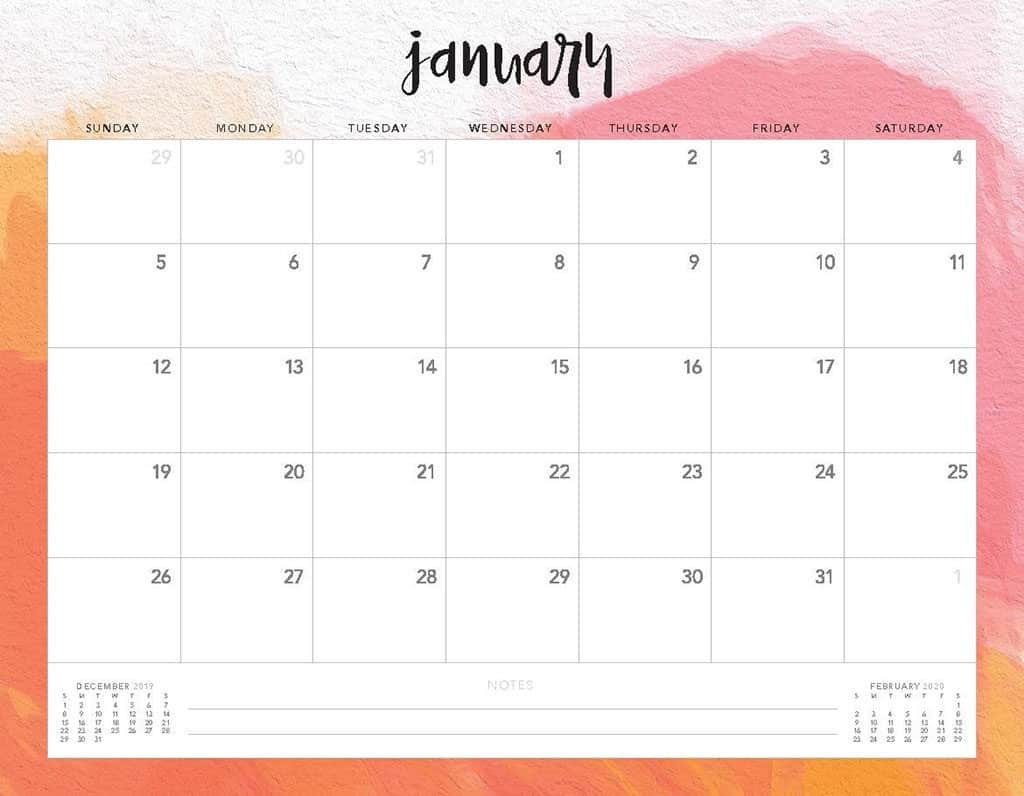 Free 2020 Printable Calendars - 51 Designs To Choose From! regarding Sunday To Saturday Calendar 2020 Printable