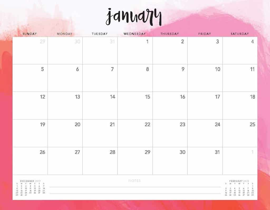 Free 2020 Printable Calendars - 51 Designs To Choose From! with regard to 2020 Calendar To Fill In