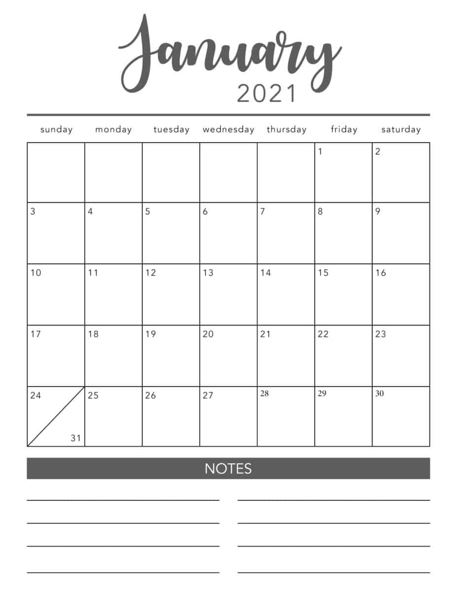 Free 2021 Printable Calendar Template (2 Colors!) - I Heart throughout Free Blank Printable Monthly Calendar 2020