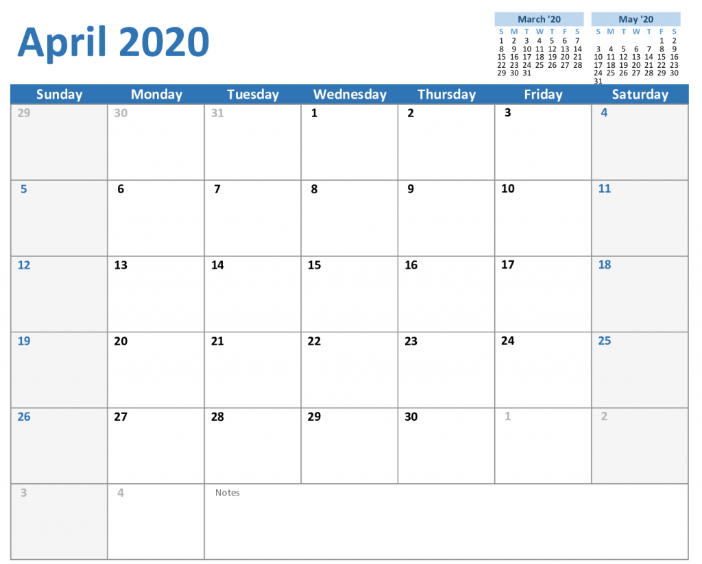 Free April 2020 Calendar In Pdf Word Excel Format with Free Editable 2020 Calendars