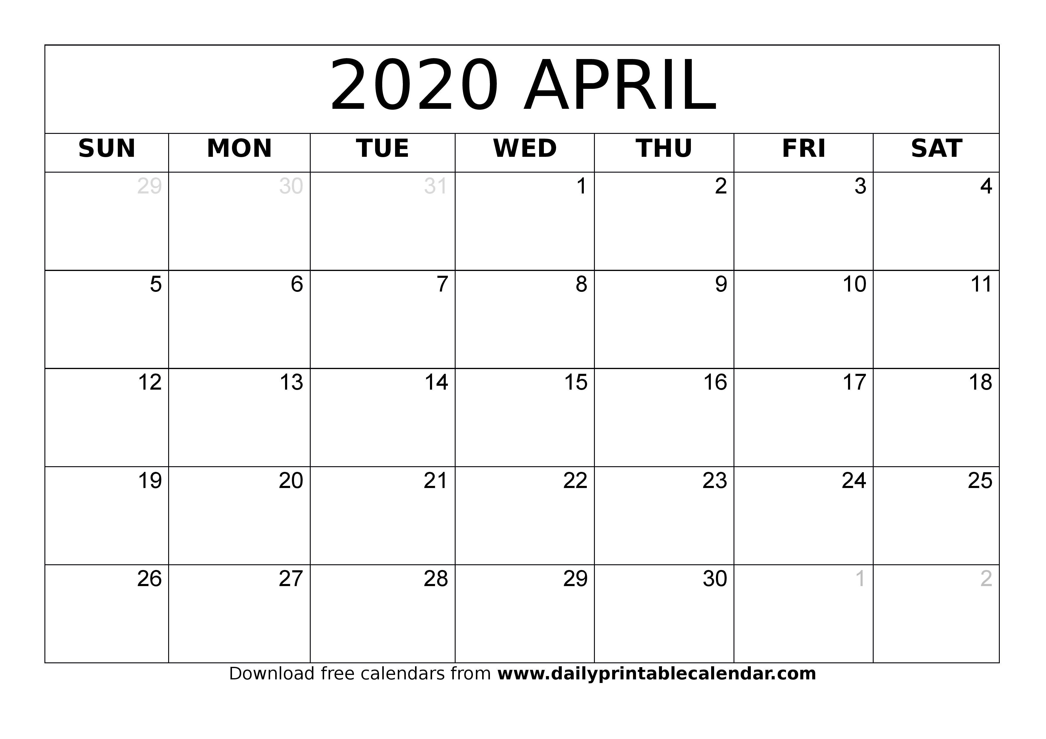 Free Calendar 2020 Templates ~ Addictionary throughout Free Editable 2020 Calendars