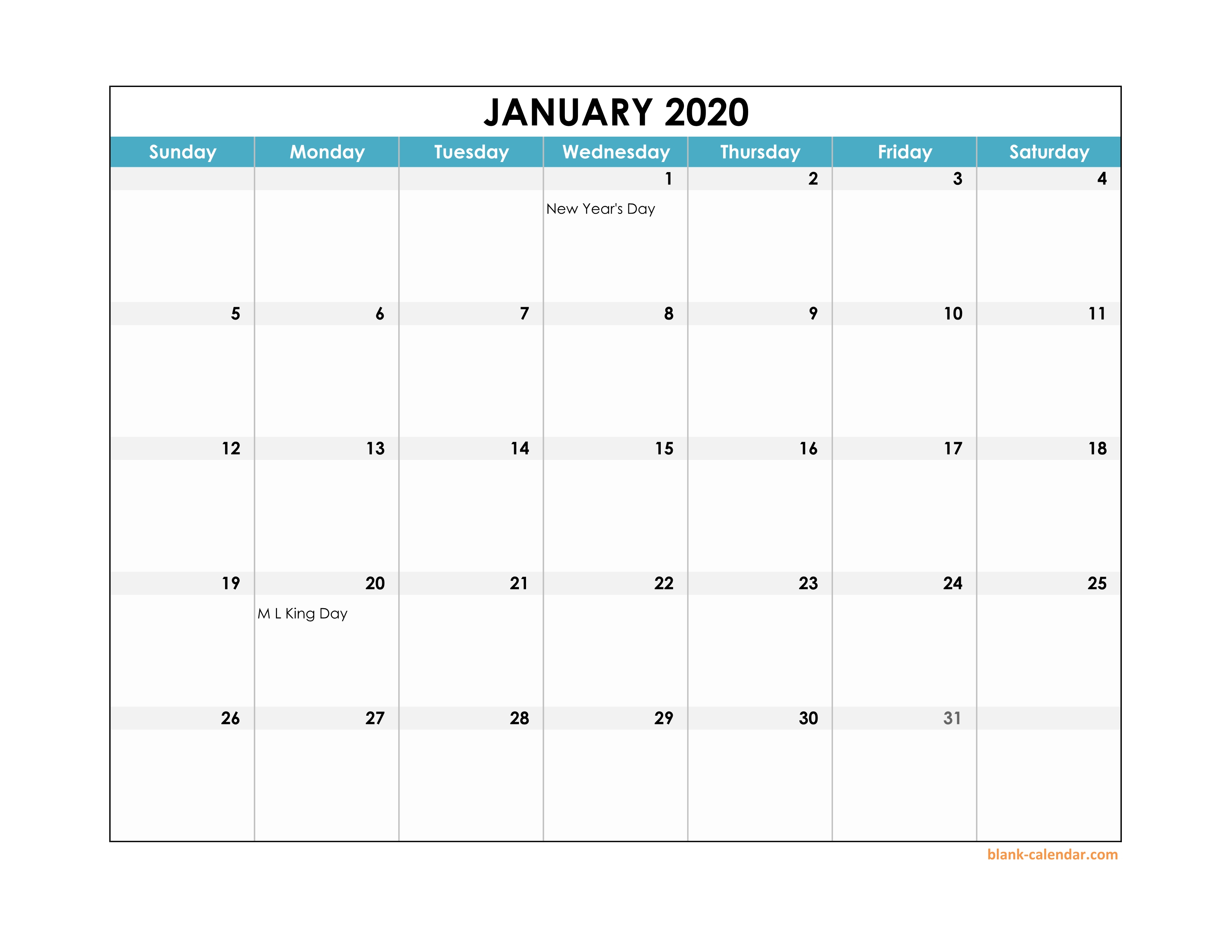Free Download 2020 Excel Calendar Large Boxes In The Grid for Printable Yearly Calendar With Boxes