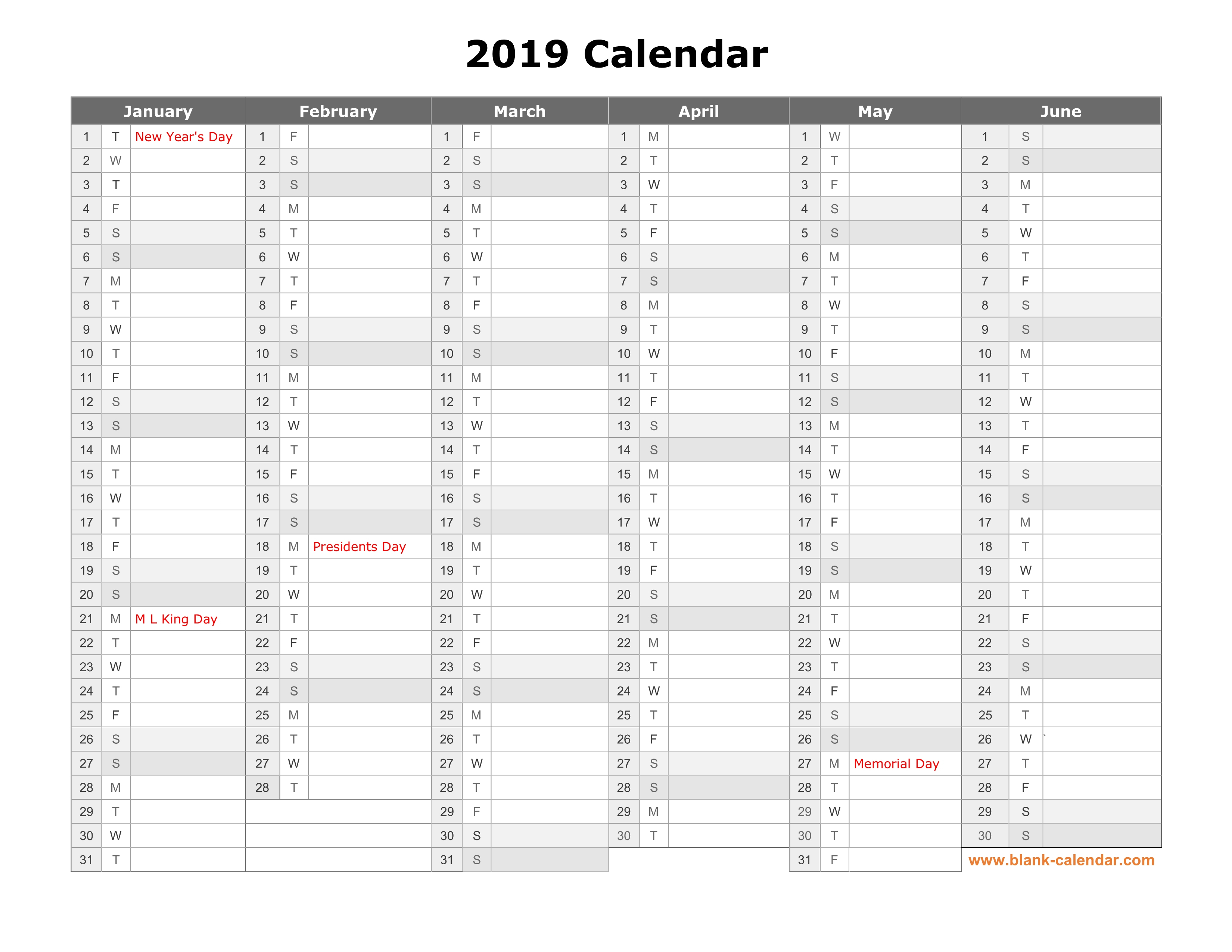 Free Download Printable Calendar 2019, Month In A Column pertaining to Printable Yearly Calendar With Boxes