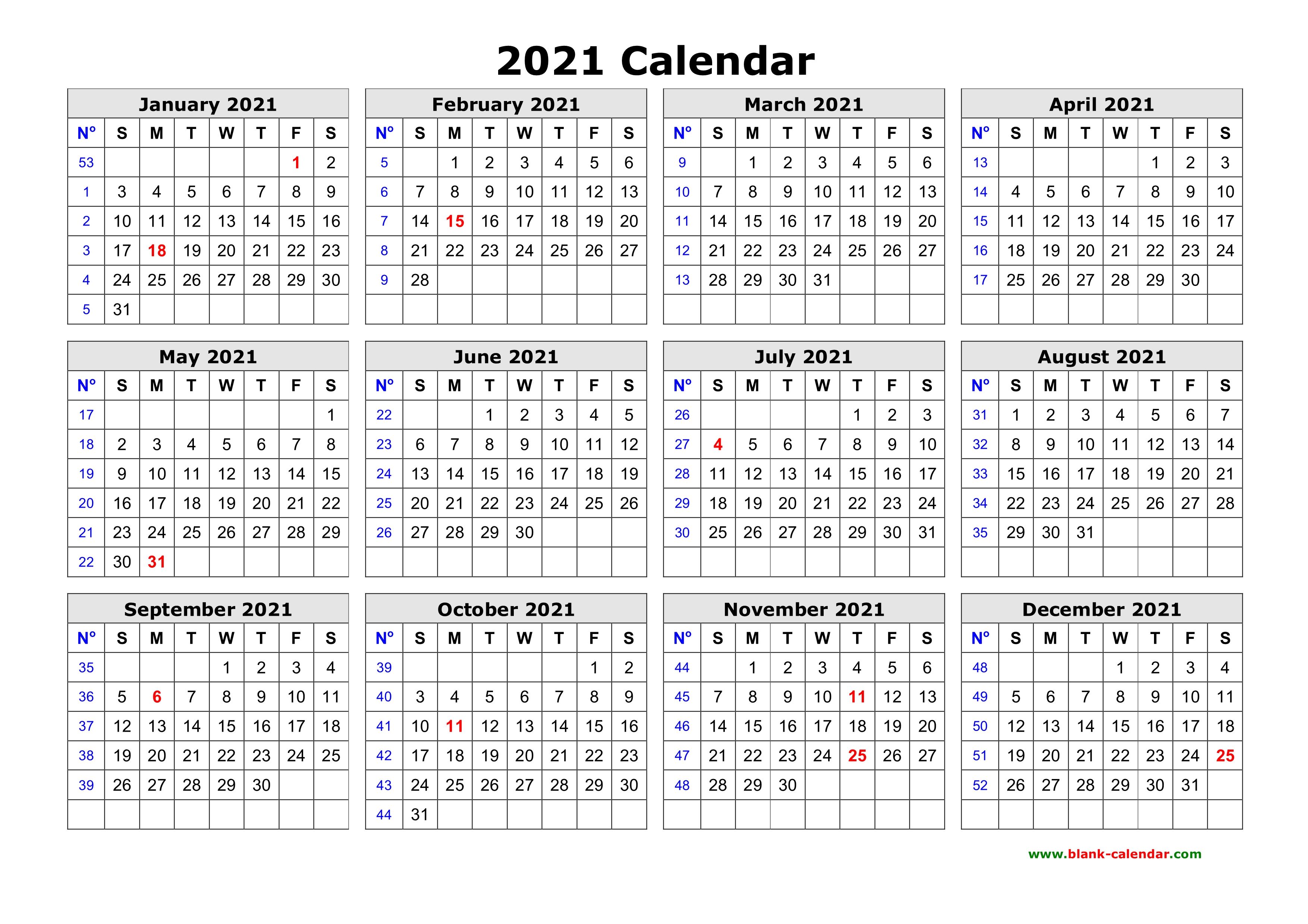Free Download Printable Calendar 2021 In One Page, Clean Design. intended for Printable Yearly Calendar With Boxes