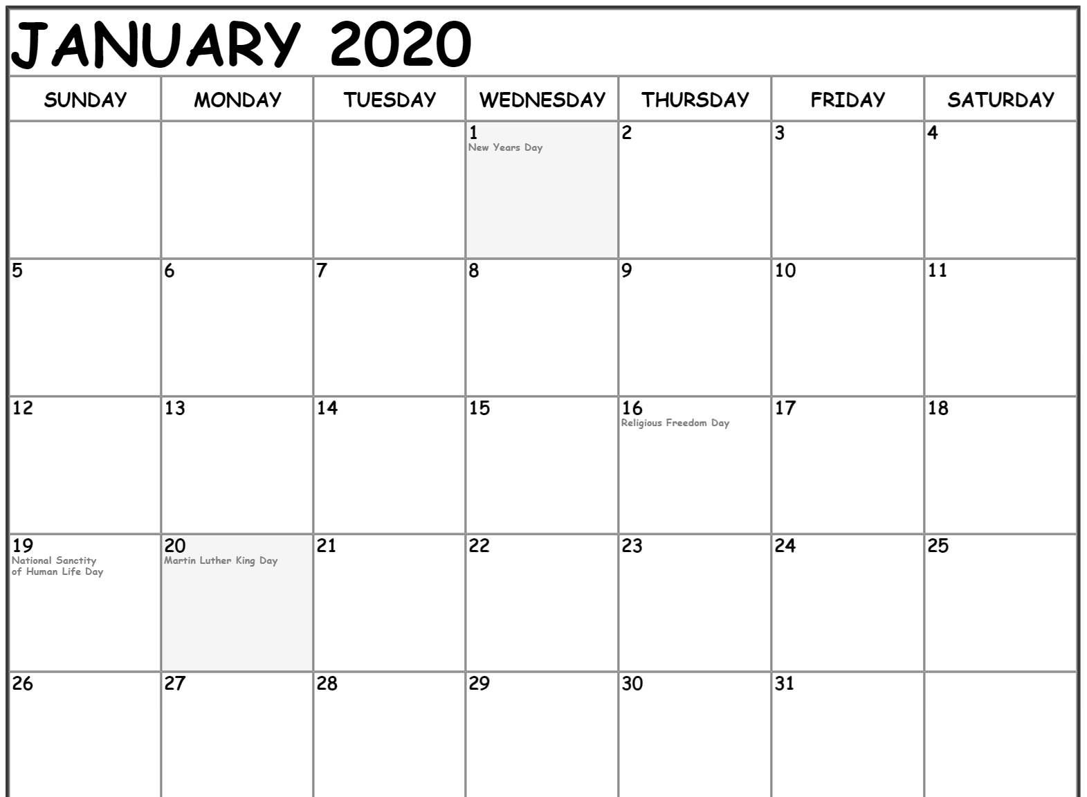 Free January Calendar 2020 Printable Template Download 1 In in Free Fillable Calendars 2020