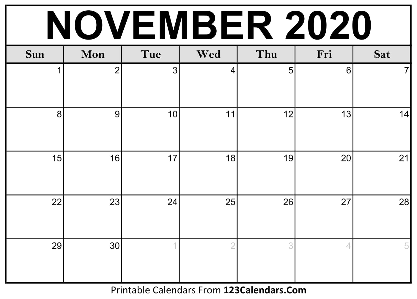 Free November 2020 Calendar | 123Calendars in Online Free Printable Calendar 2020