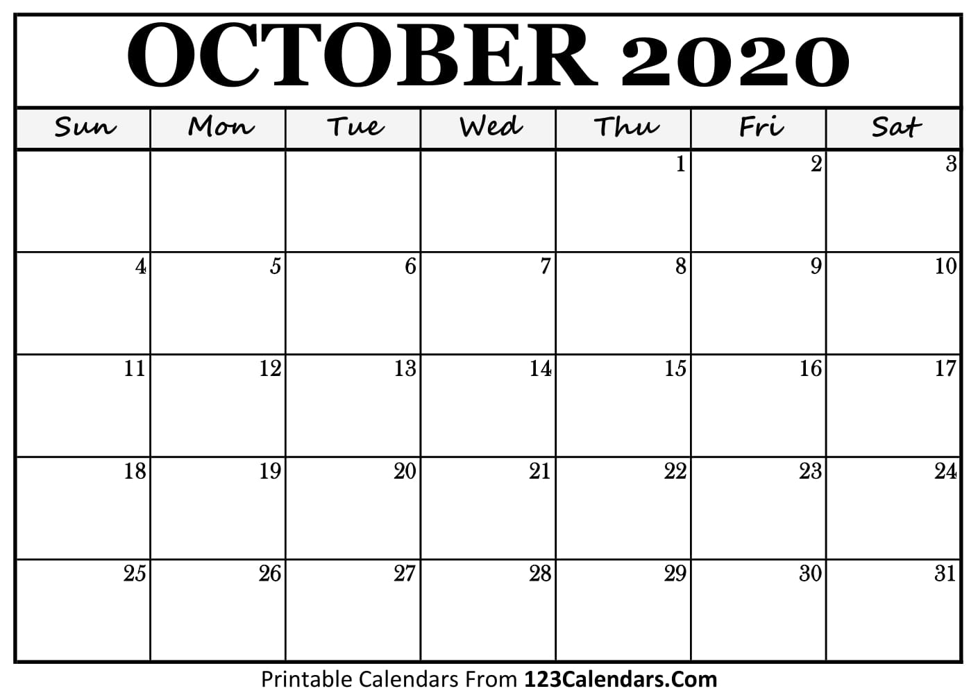 Free October 2020 Calendar | 123Calendars inside Vertex Montly Calendar October 2020