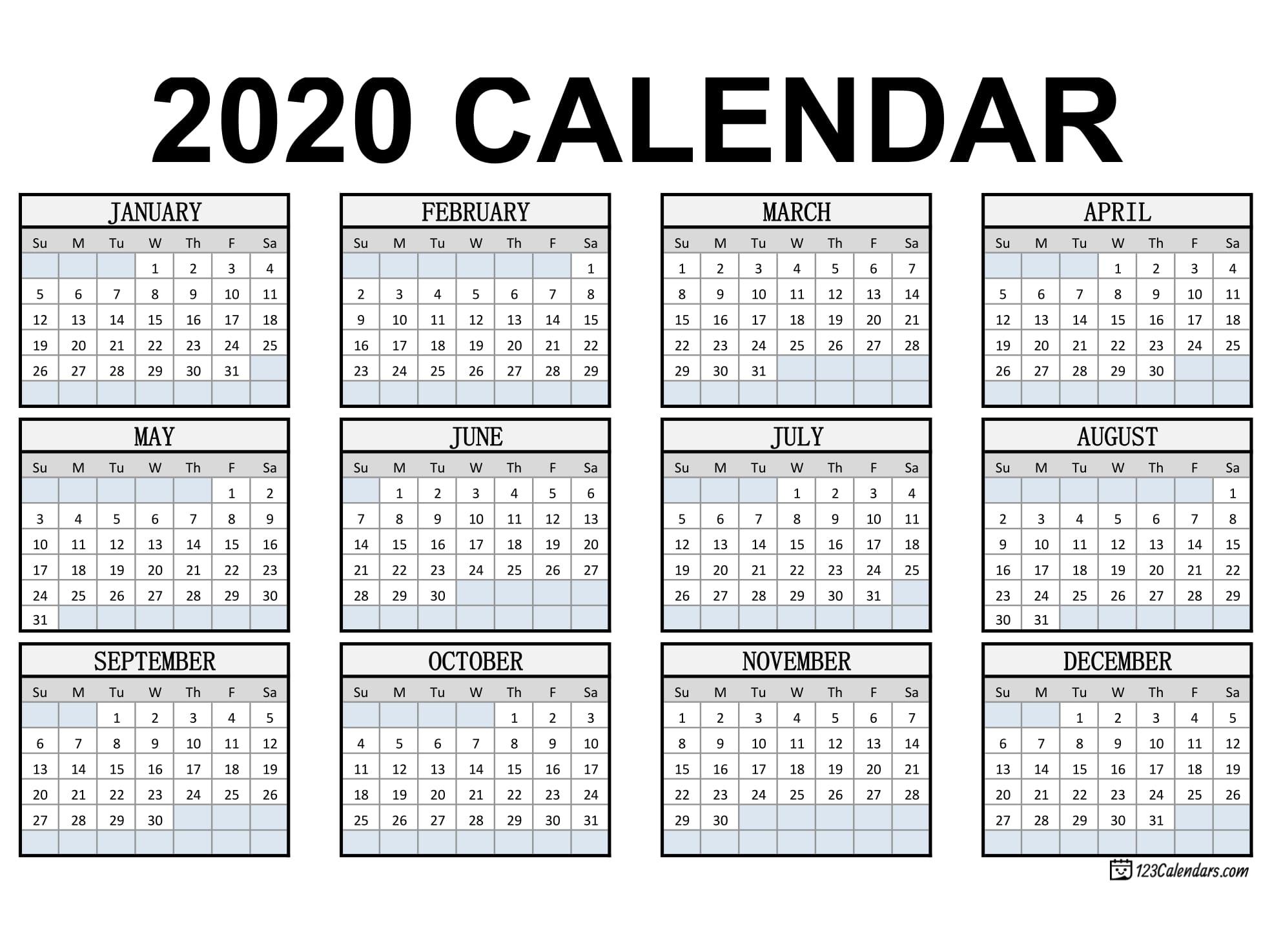 Free Printable 2020 Calendar | 123Calendars inside Legal Size Printable Monthly Calendar 2020