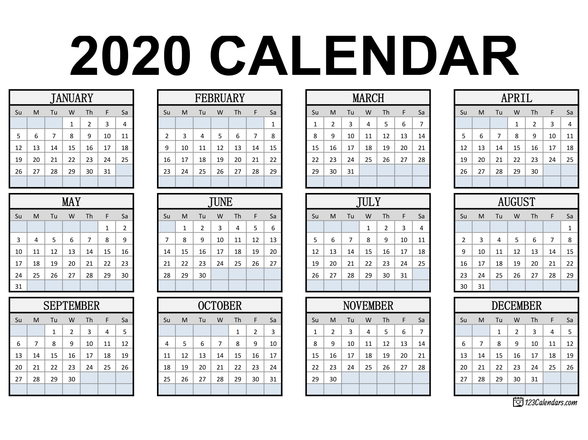 Free Printable 2020 Calendar | 123Calendars inside Printable Yearly Calendar With Boxes