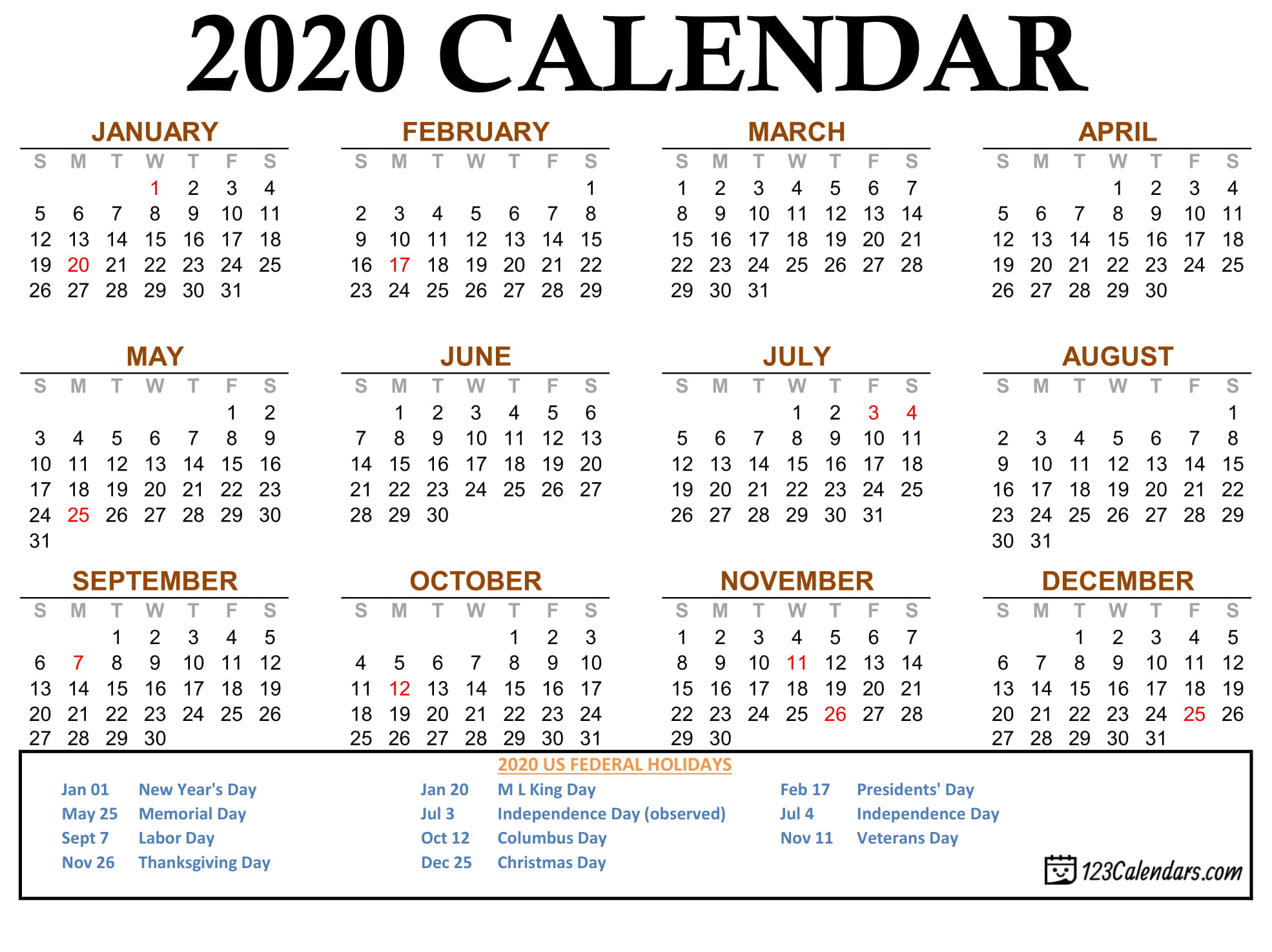 Free Printable 2020 Calendar | 123Calendars pertaining to Legal Size Printable Monthly Calendar 2020