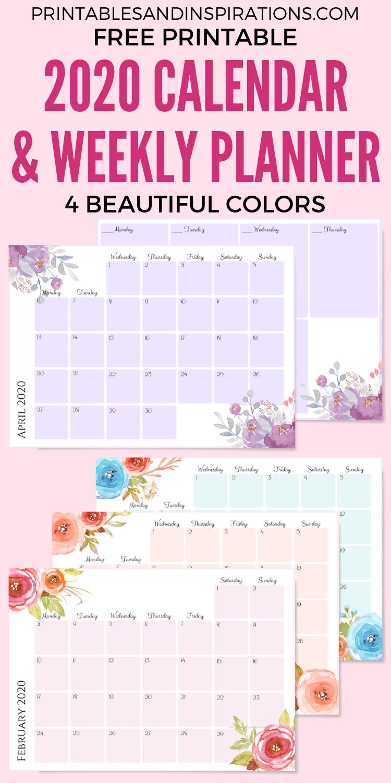 Free Printable 2020 Monthly Calendar + Weekly Planner pertaining to 2020 Monthly Printable Pocket Planner