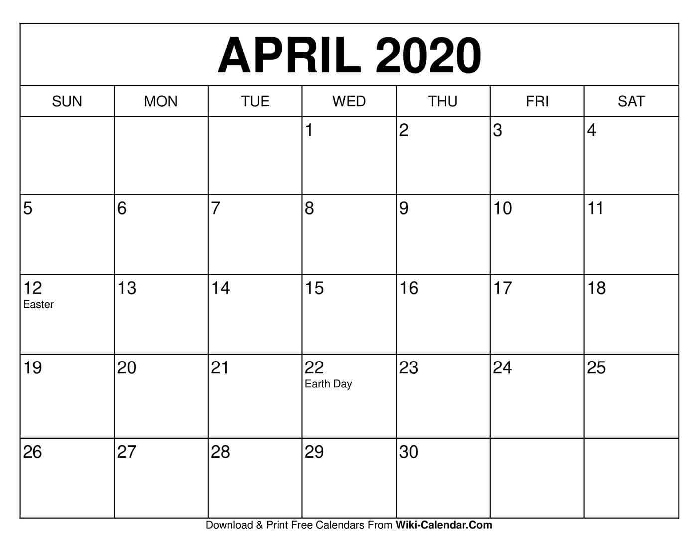 Free Printable April 2020 Calendars within Online Free Printable Calendar 2020
