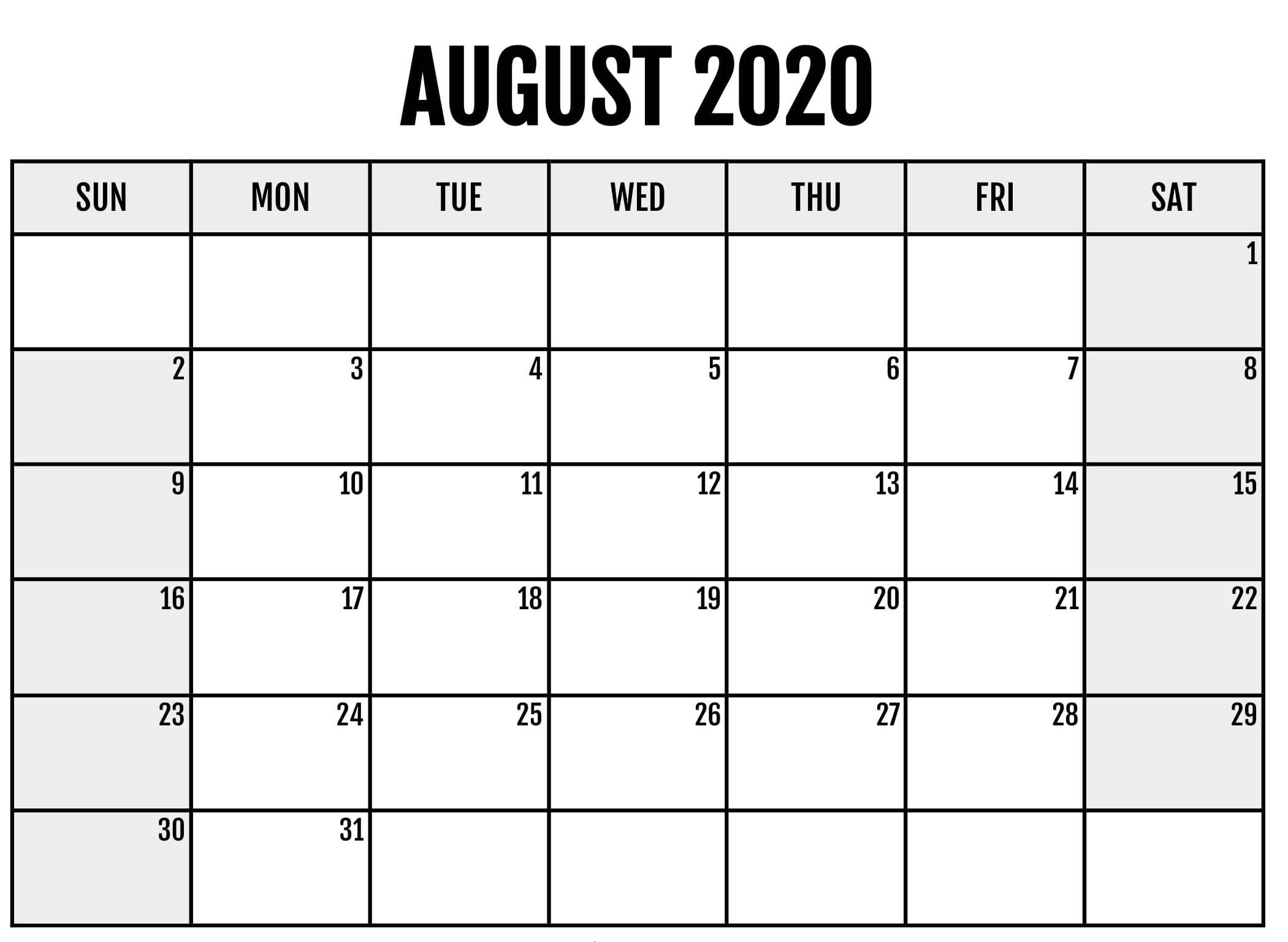 Free Printable August 2020 Calendar Blank Editable - Digital within Free Editable 2020 Calendars