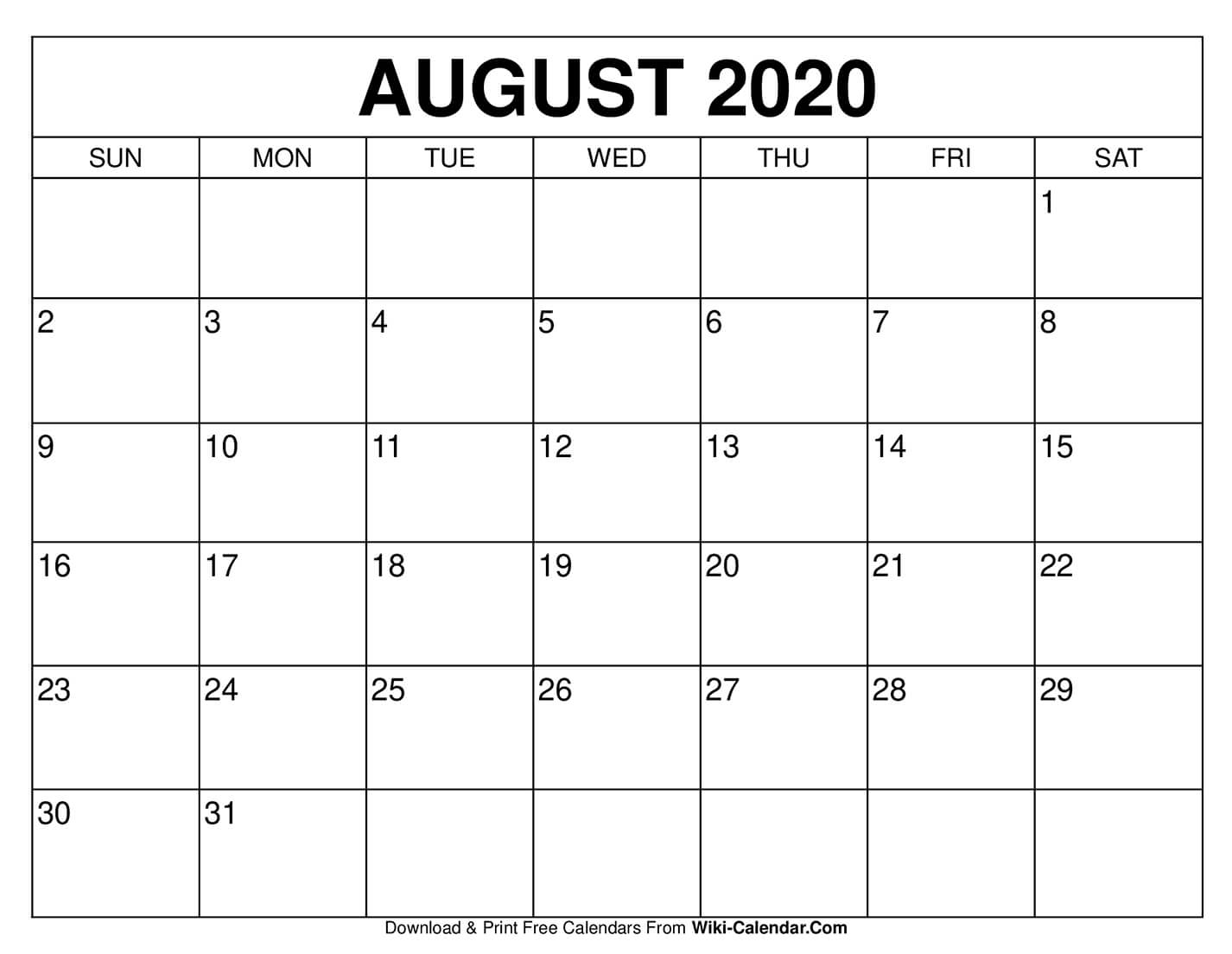 Free Printable August 2020 Calendars pertaining to Print Free 2020 Calendar Without Downloading Weekly Writing