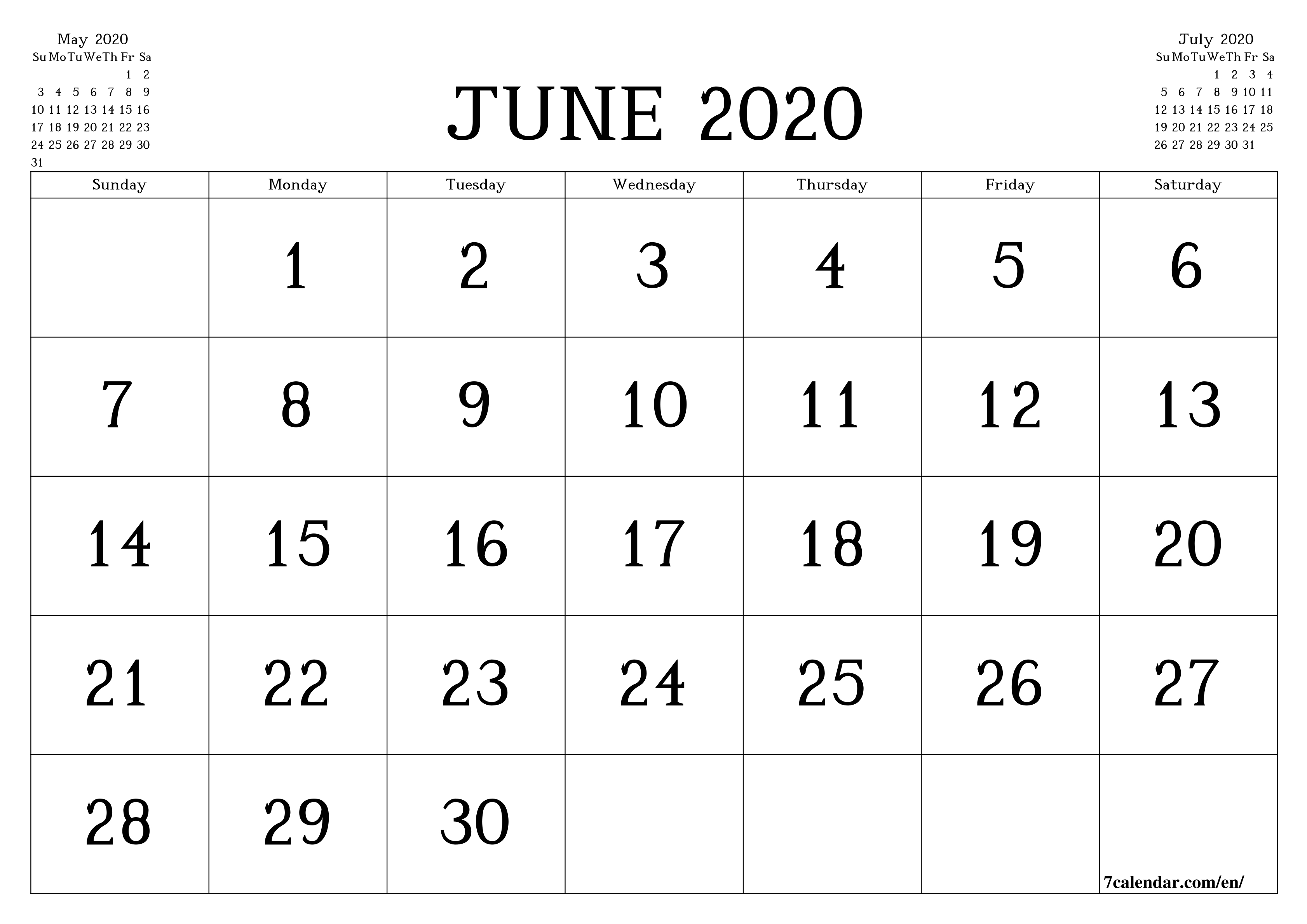 Free Printable Blank Monthly Calendar And Planner For June with regard to Legal Size Printable Monthly Calendar 2020