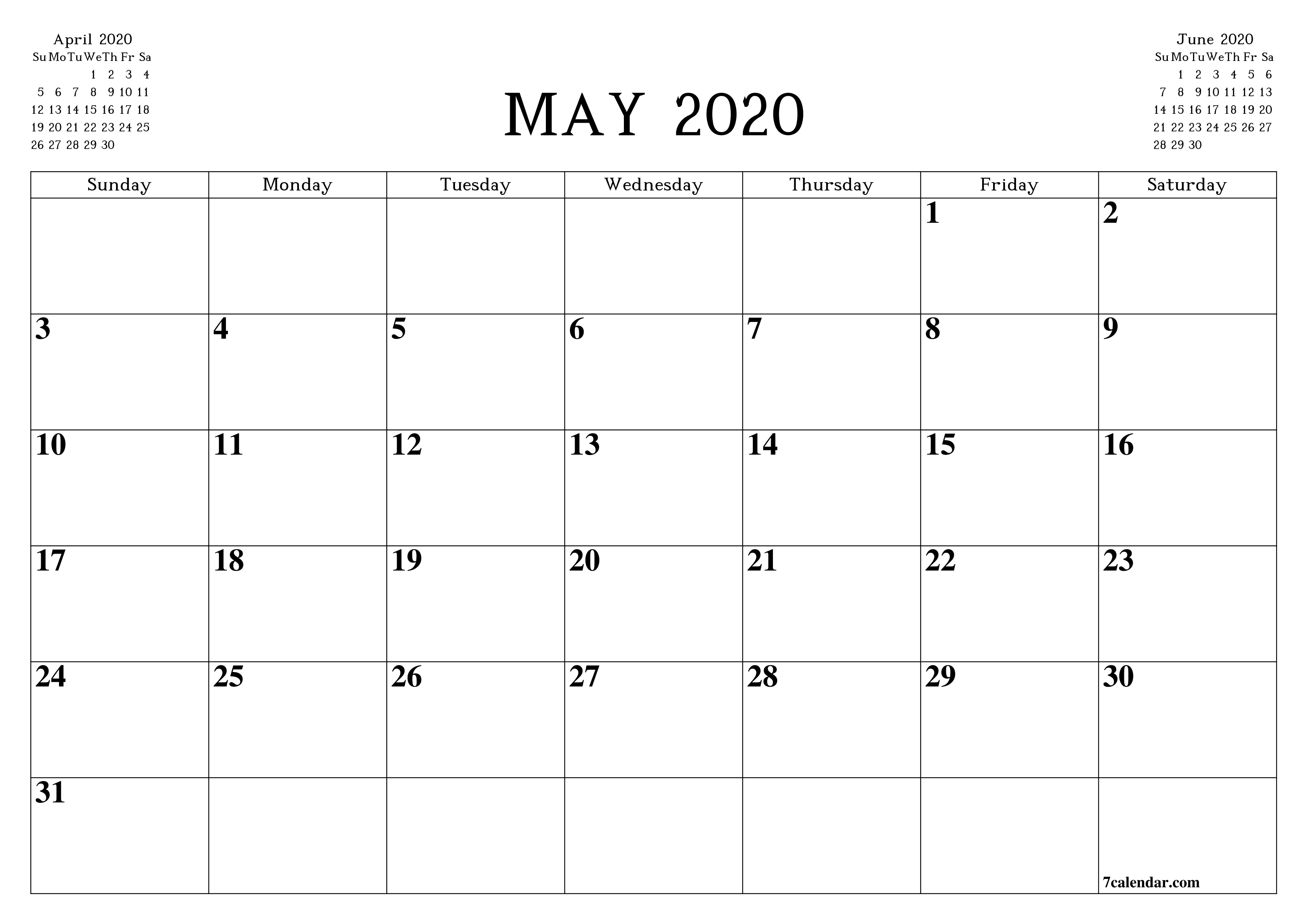 Free Printable Blank Monthly Calendar And Planner For May throughout Legal Size Printable Monthly Calendar 2020