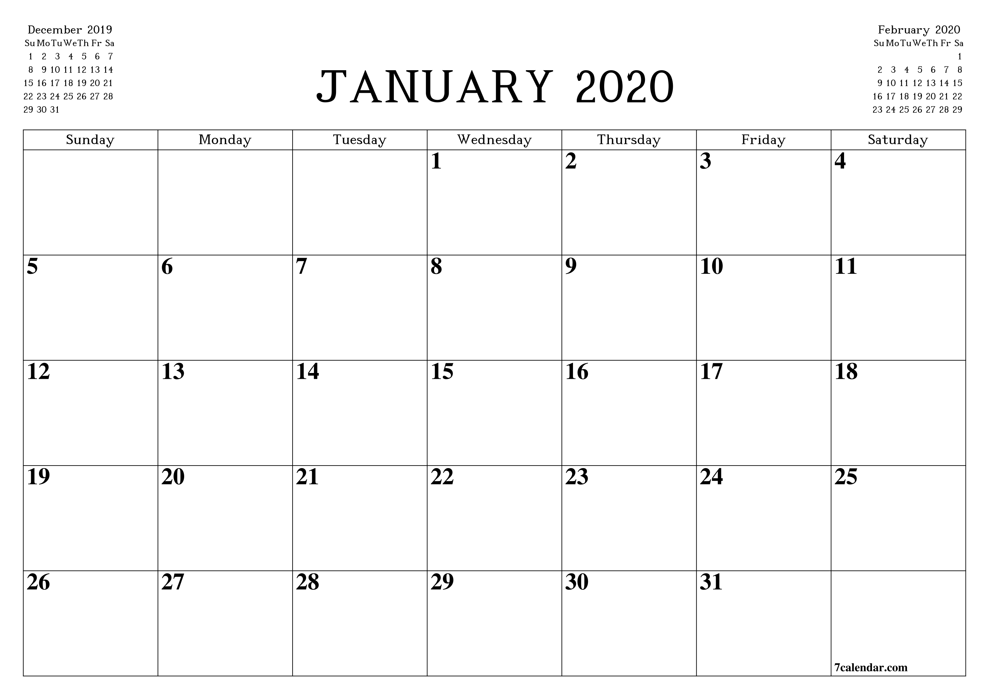 Free Printable Blank Monthly Calendar And Planner For with regard to Monthly Fill In Calendar 2020