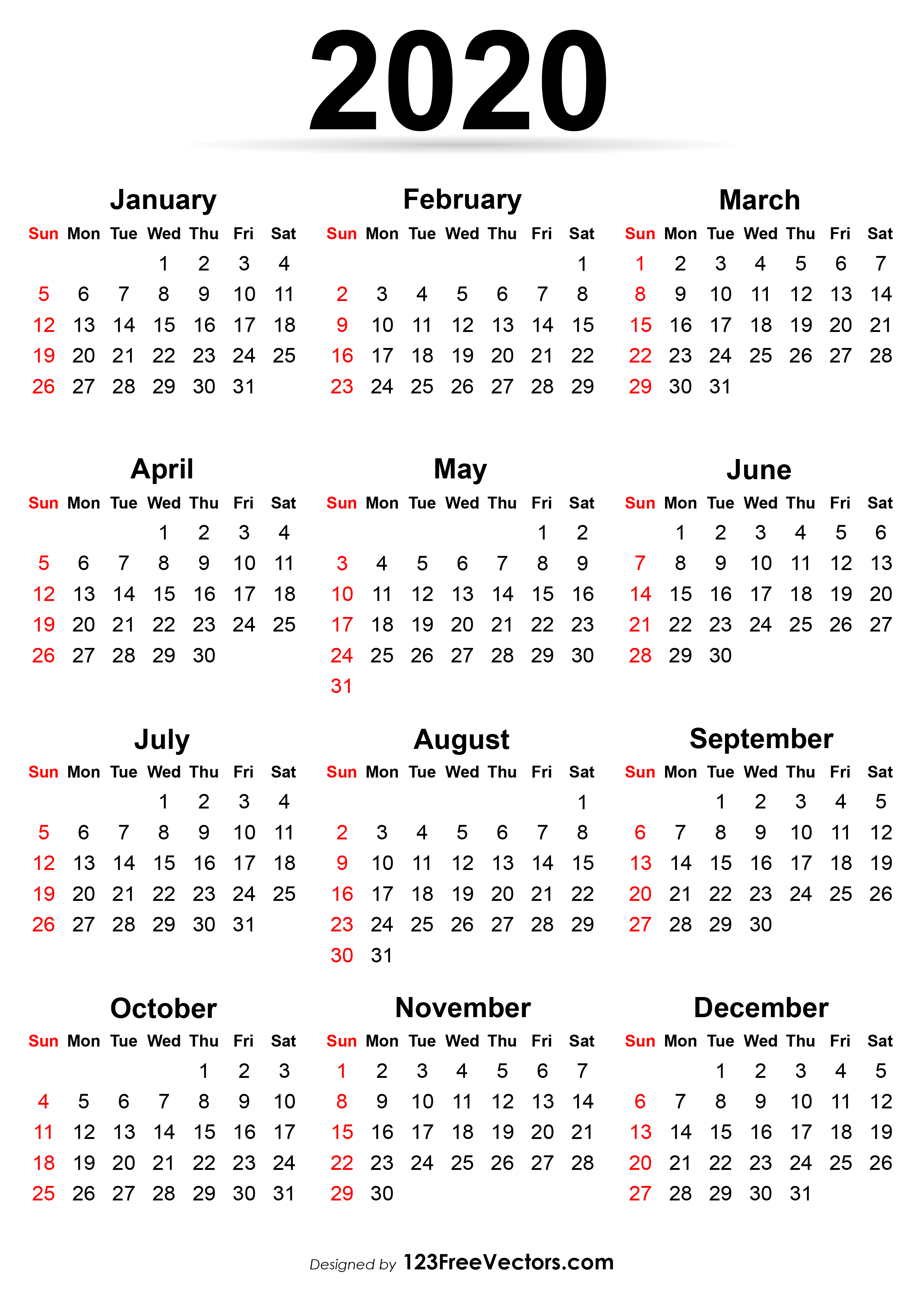 Free Printable Calendar 2020 in Sunday To Saturday Calendar 2020 Printable