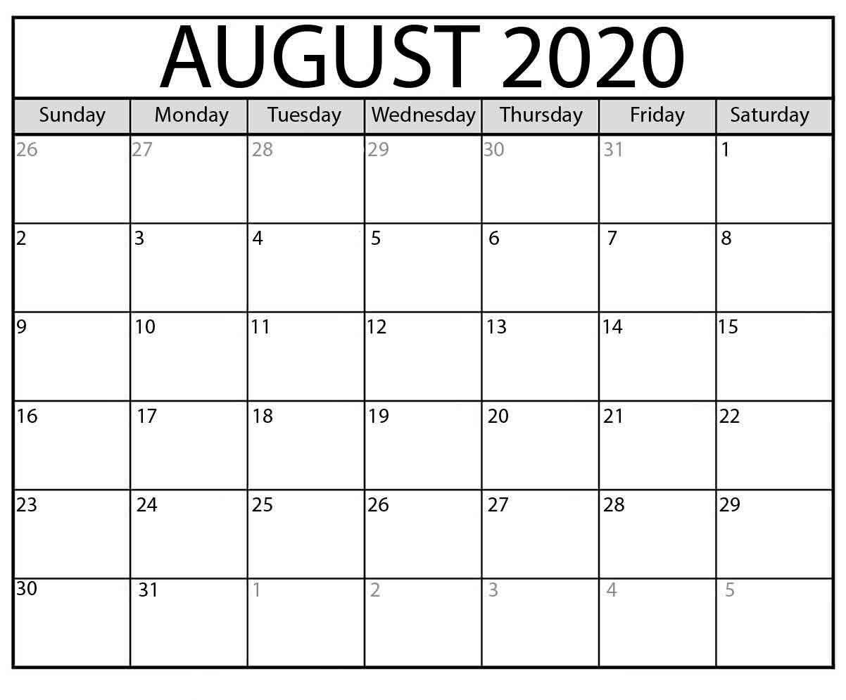 Free Printable Calendar August 2020 Calendar Templates. with regard to Free Editable 2020 Calendars