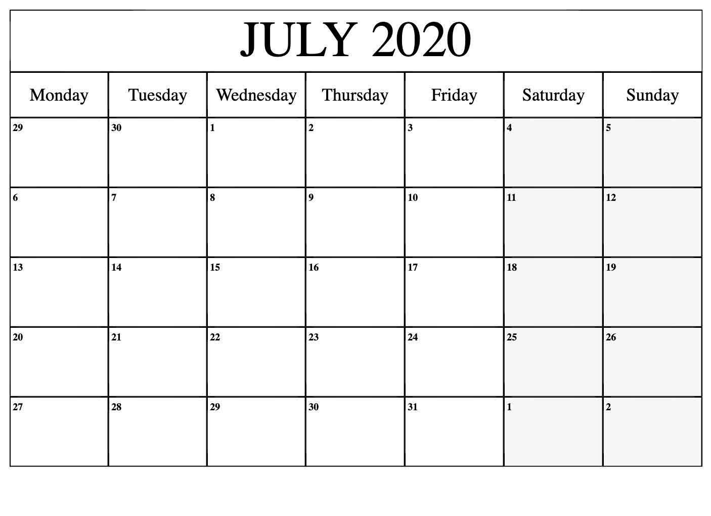 Free Printable Calendar July 2020 Excel Calendar. intended for Sunday To Saturday Calendar 2020 Printable