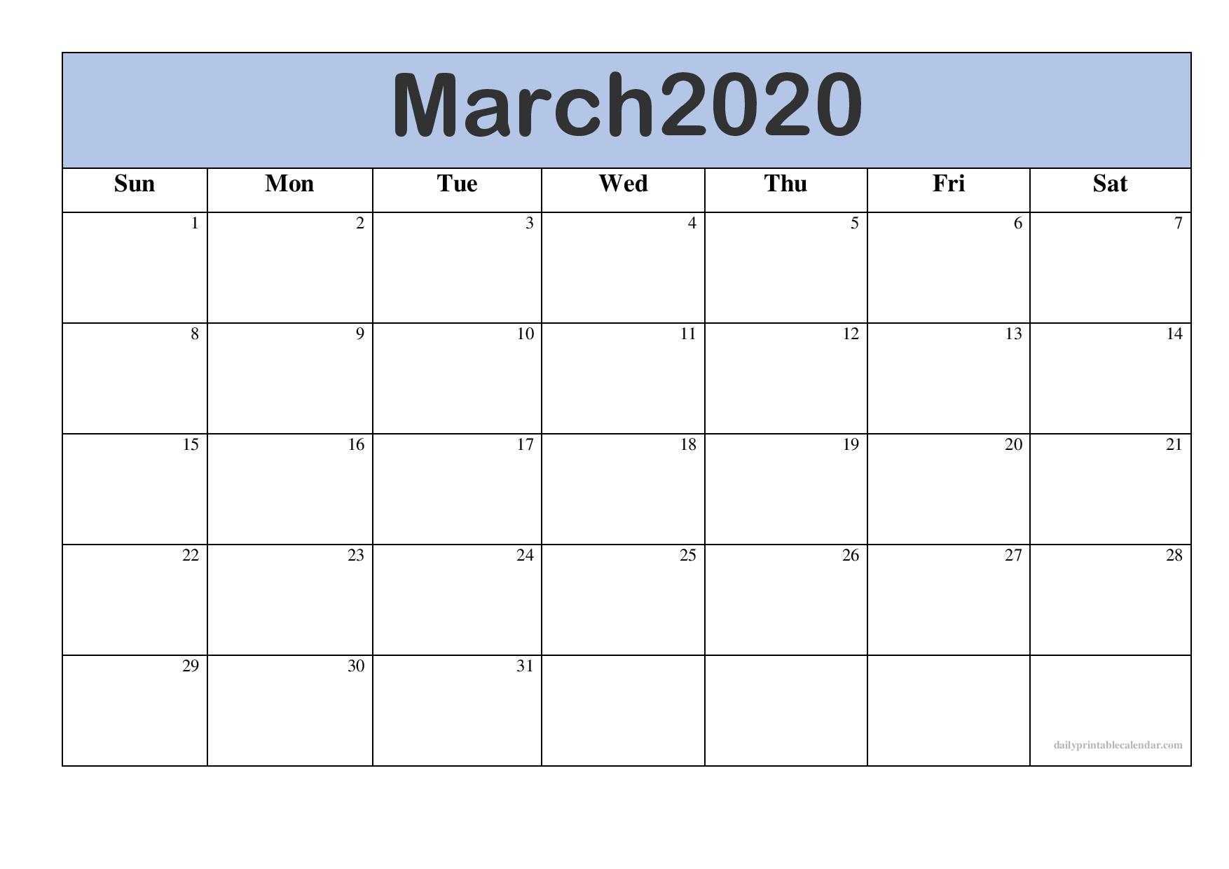 Free Printable Calendar March 2020 | Free Printable March intended for Free Blank Printable Monthly Calendar 2020