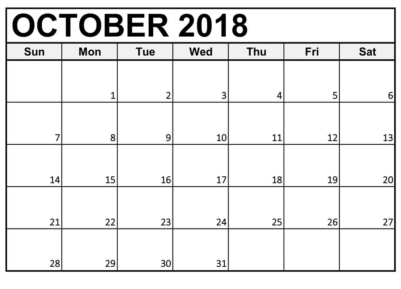Free Printable Calendar October 2018 Large Numbers intended for Free Large Number Printable Calendars