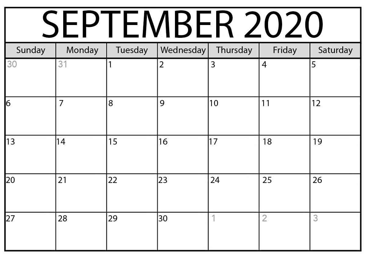 Free Printable Calendar September 2020 - Calendar Word with regard to Free Fill In Calendars 2020
