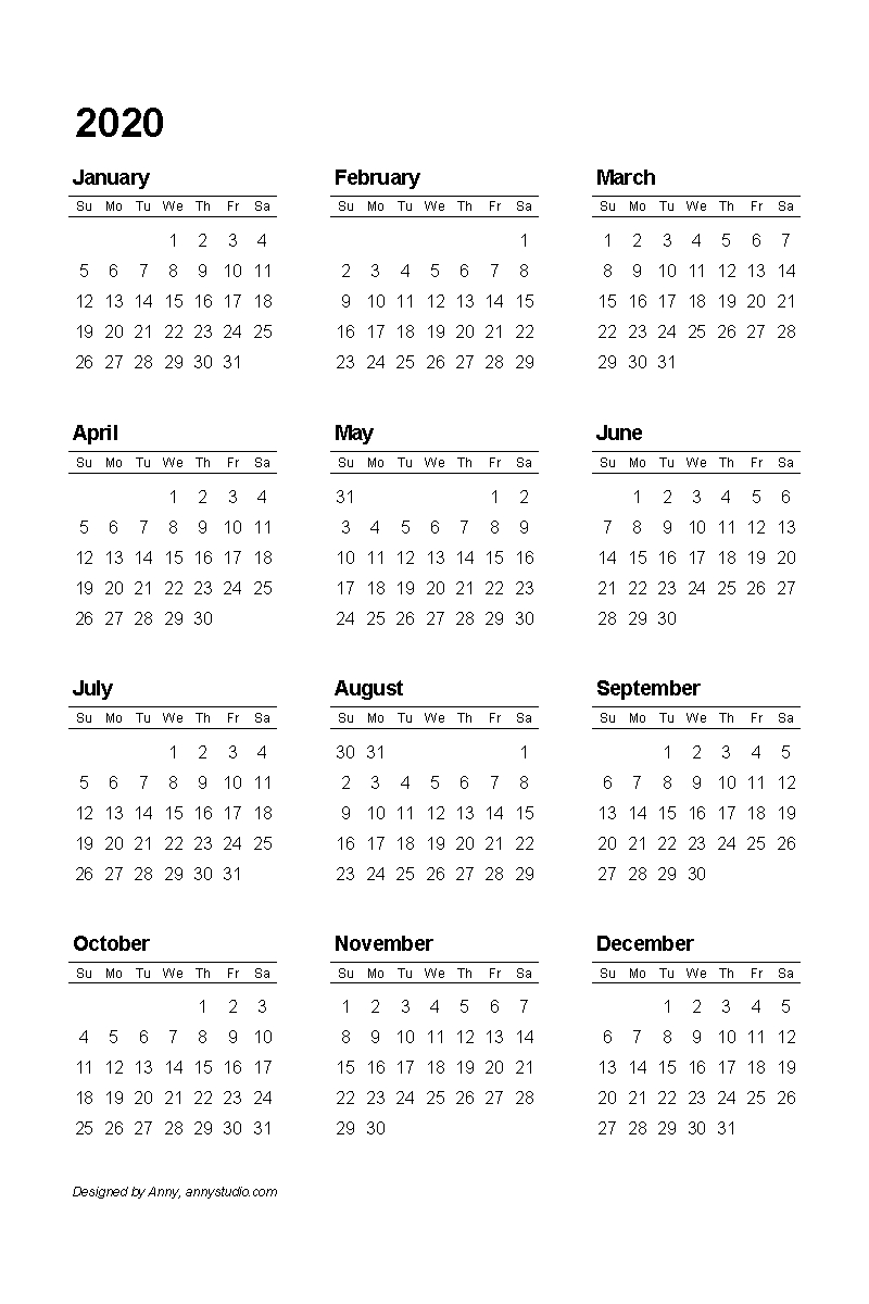 Free Printable Calendars And Planners 2020, 2021, 2022 in Sunday To Saturday Calendar 2020 Printable