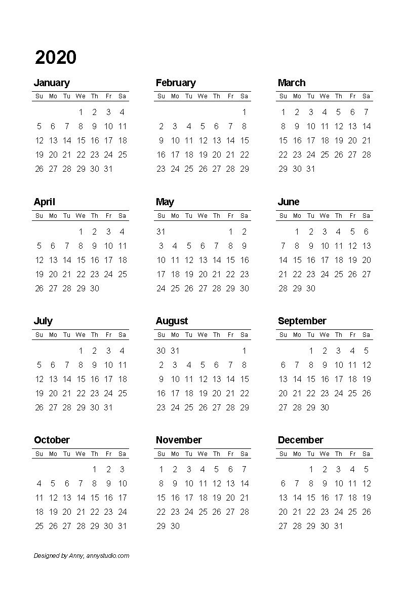 Free Printable Calendars And Planners 2020, 2021, 2022 pertaining to Calendar 2020 Sat Thru Sunday