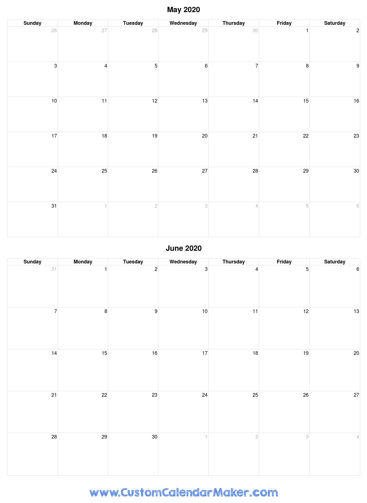 Free Printable Calendars, Blank Pdf Templates To Print A for Free Fill In Calendars 2020