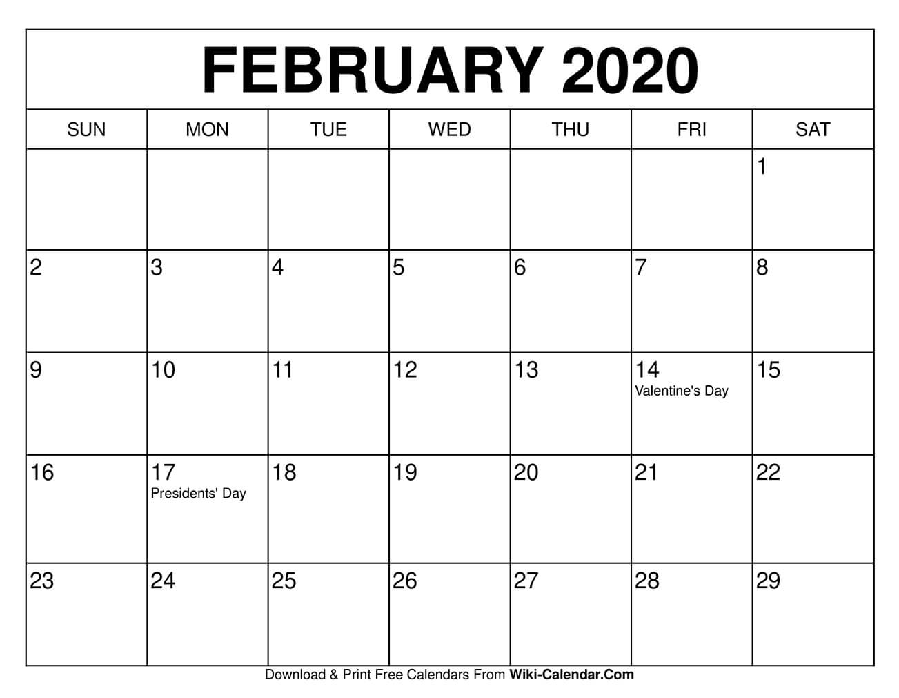 Free Printable February 2020 Calendars for 2020 Calendar That Shows Only Monday Through Friday