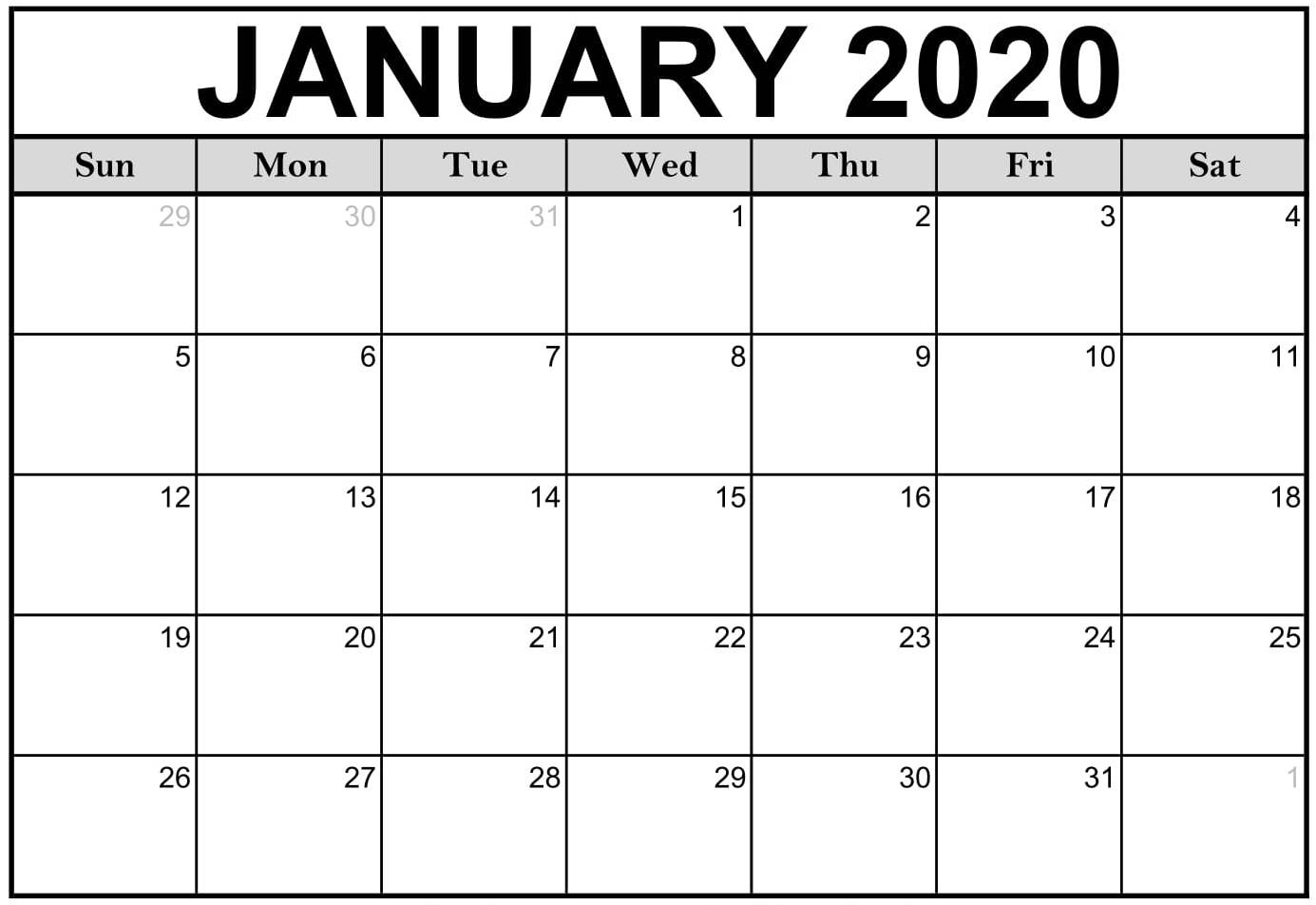 Free Printable January 2020 Calendar Editable Datesheets pertaining to Free Fillable Calendars 2020