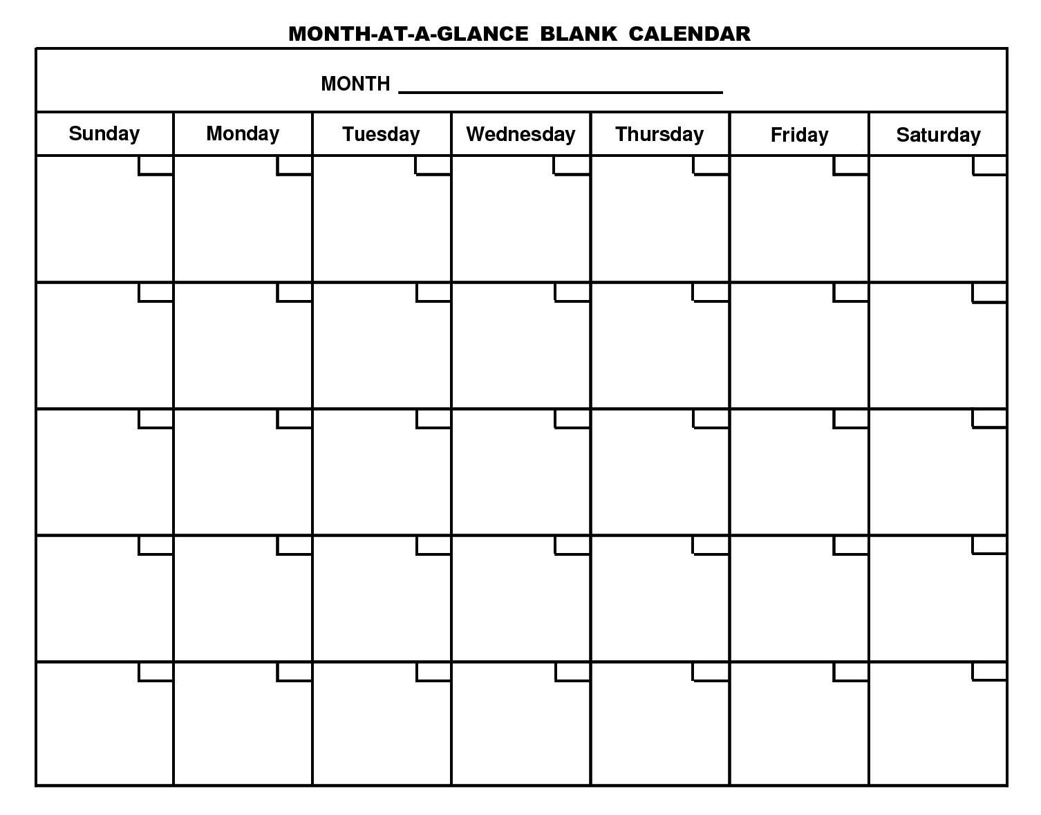 Free Printable Monthly Calendar With Large Boxes | Calendar throughout Blank Monthly Calendar Template To Fill In