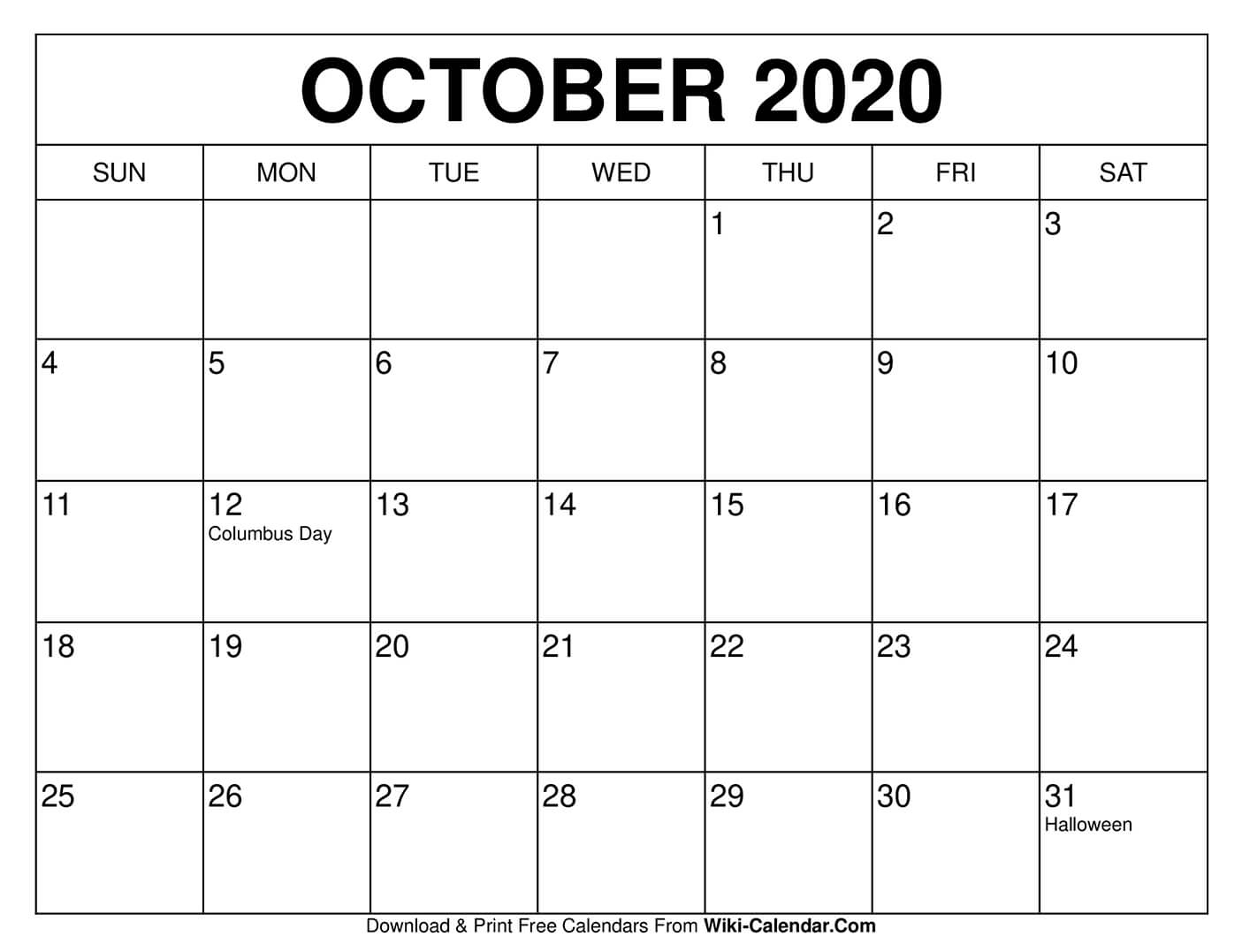 Free Printable October 2020 Calendars pertaining to Vertex Montly Calendar October 2020