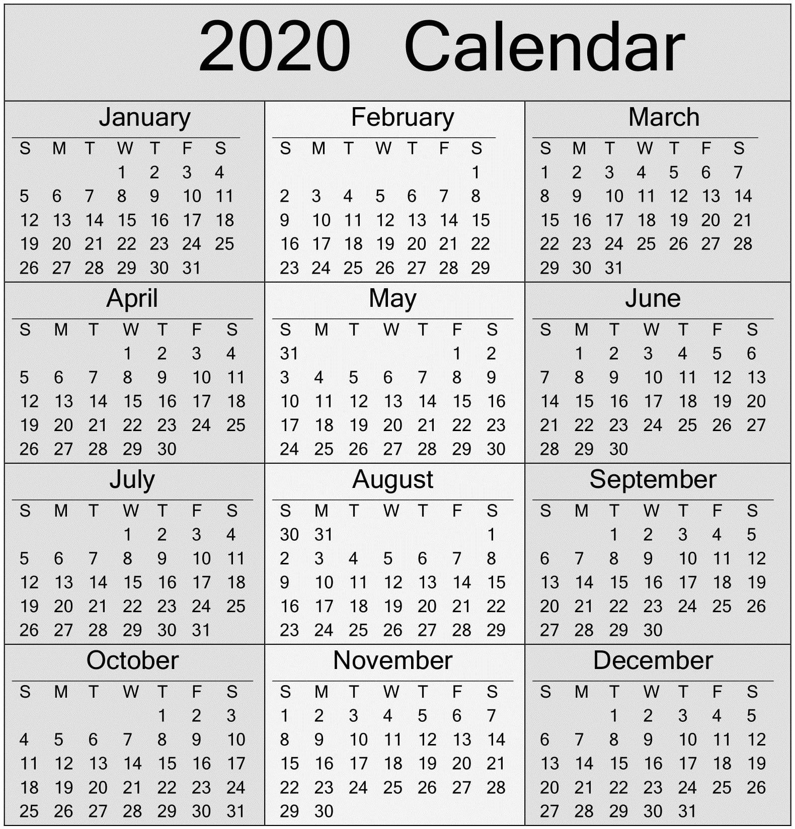 Free Printable Yearly 2020 Calendar And Holiday Templates with Sunday To Saturday Calendar 2020 Printable
