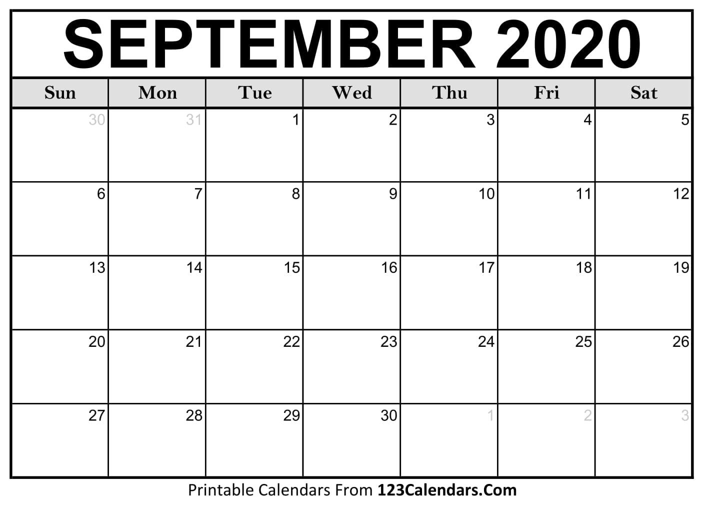 Free September 2020 Calendar | 123Calendars pertaining to September Fill In Calendar 2020