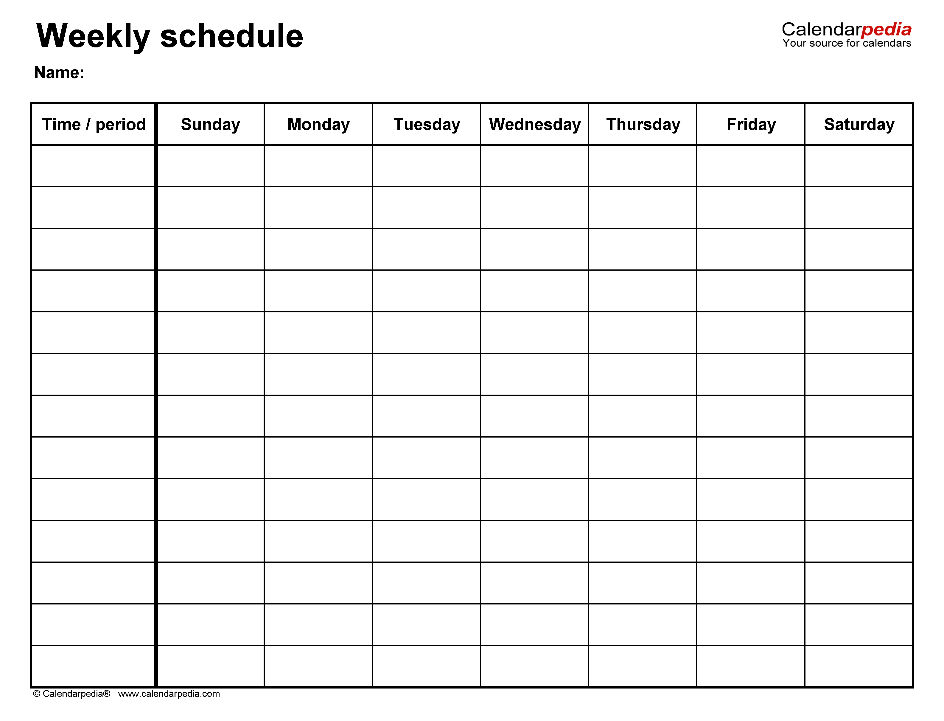 Free Weekly Schedule Templates For Word - 18 Templates throughout Sunday Thru Saturday Blank Calendar