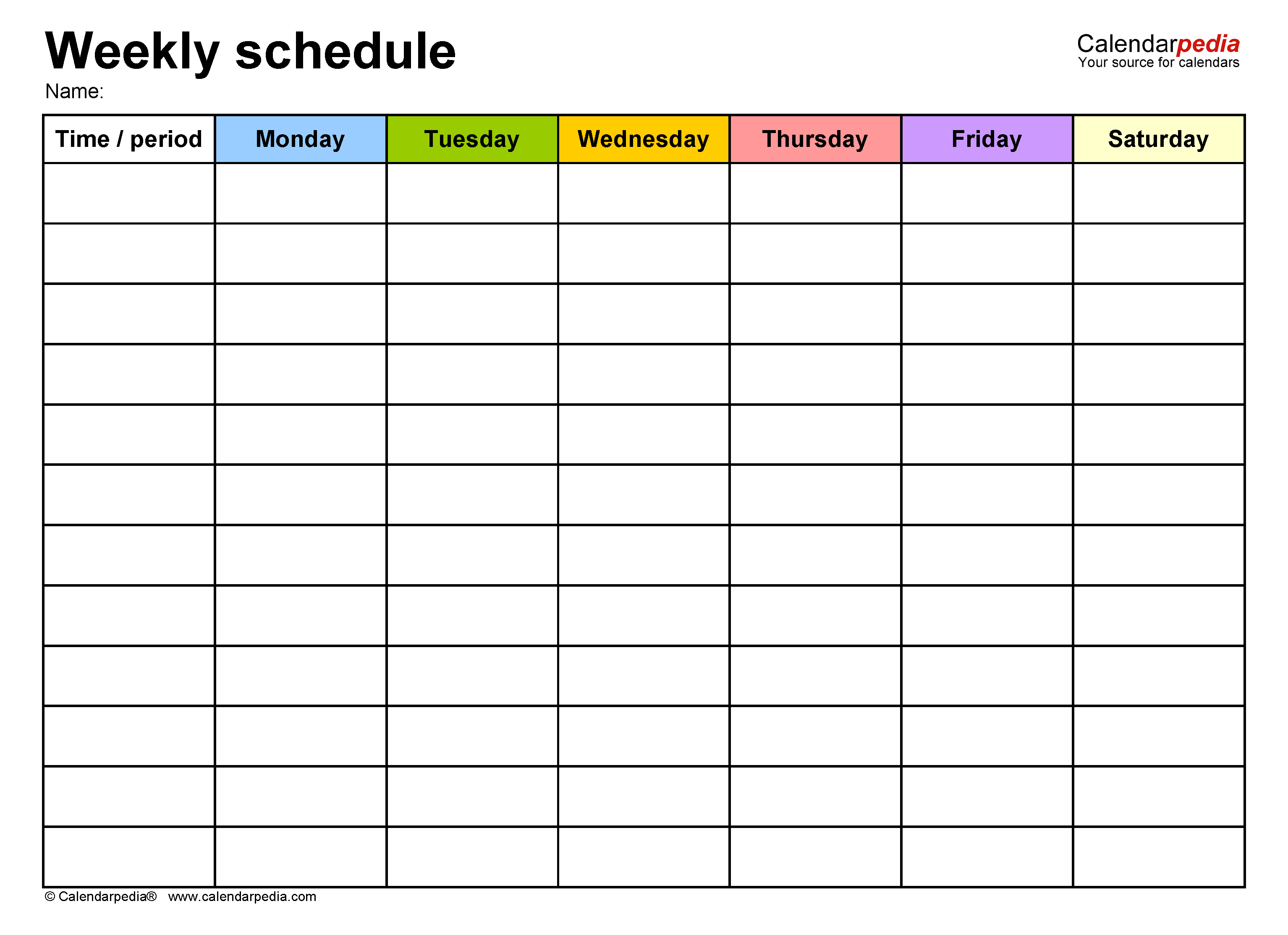 Free Weekly Schedule Templates For Word - 18 Templates with Sunday Through Saturday Calendar