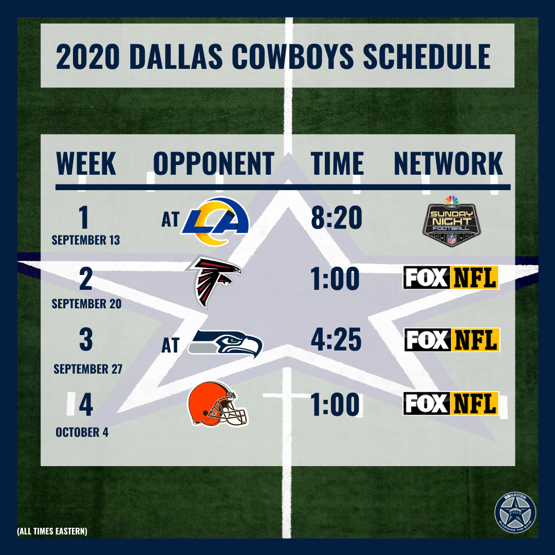 Here Is The Full 2020 Dallas Cowboys Season Schedule intended for Printable 2020 Full Nfl Schedule