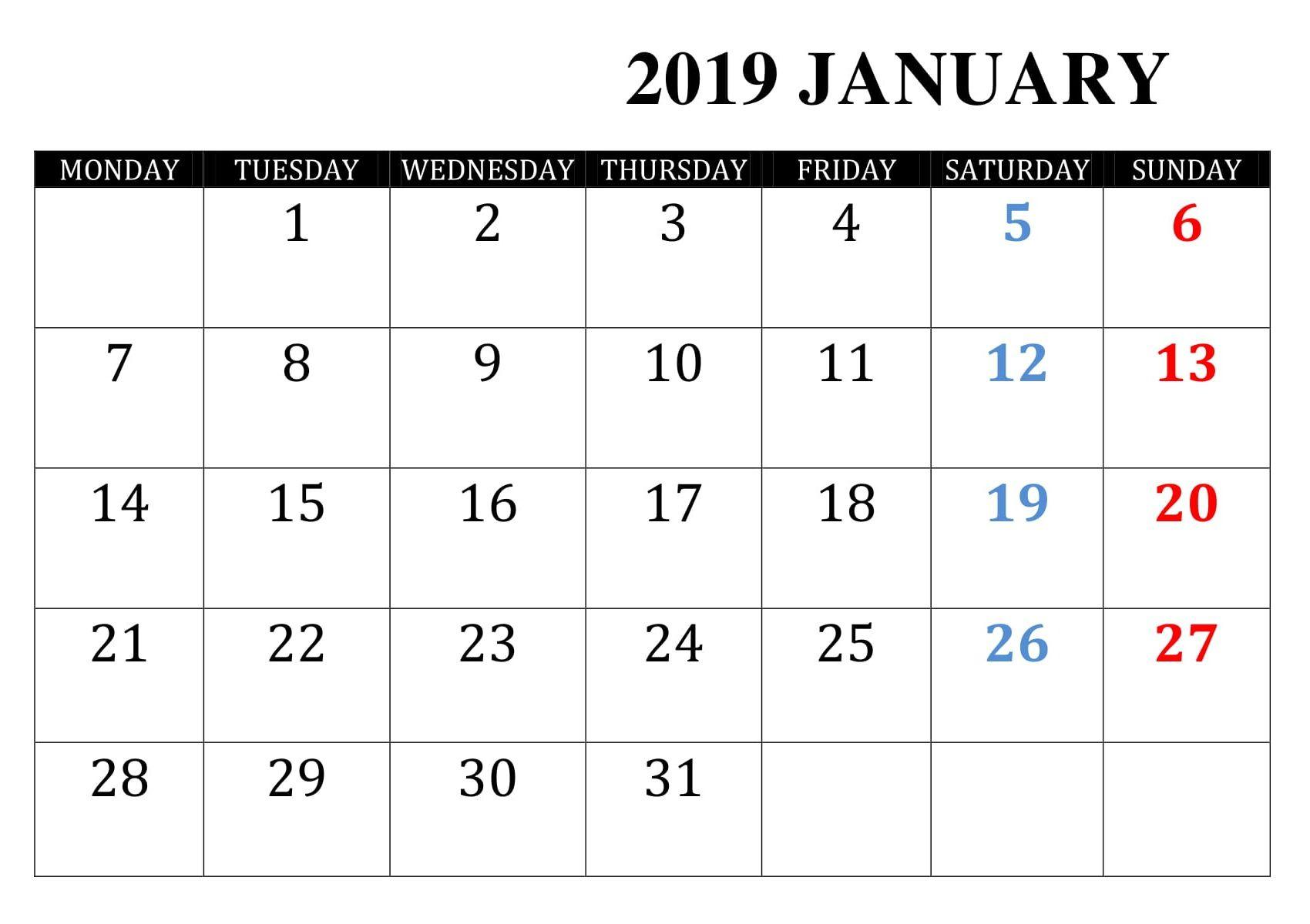 January 2019 Calendar With Holidays | 2019 Calendar inside Sunday To Saturday Calendar