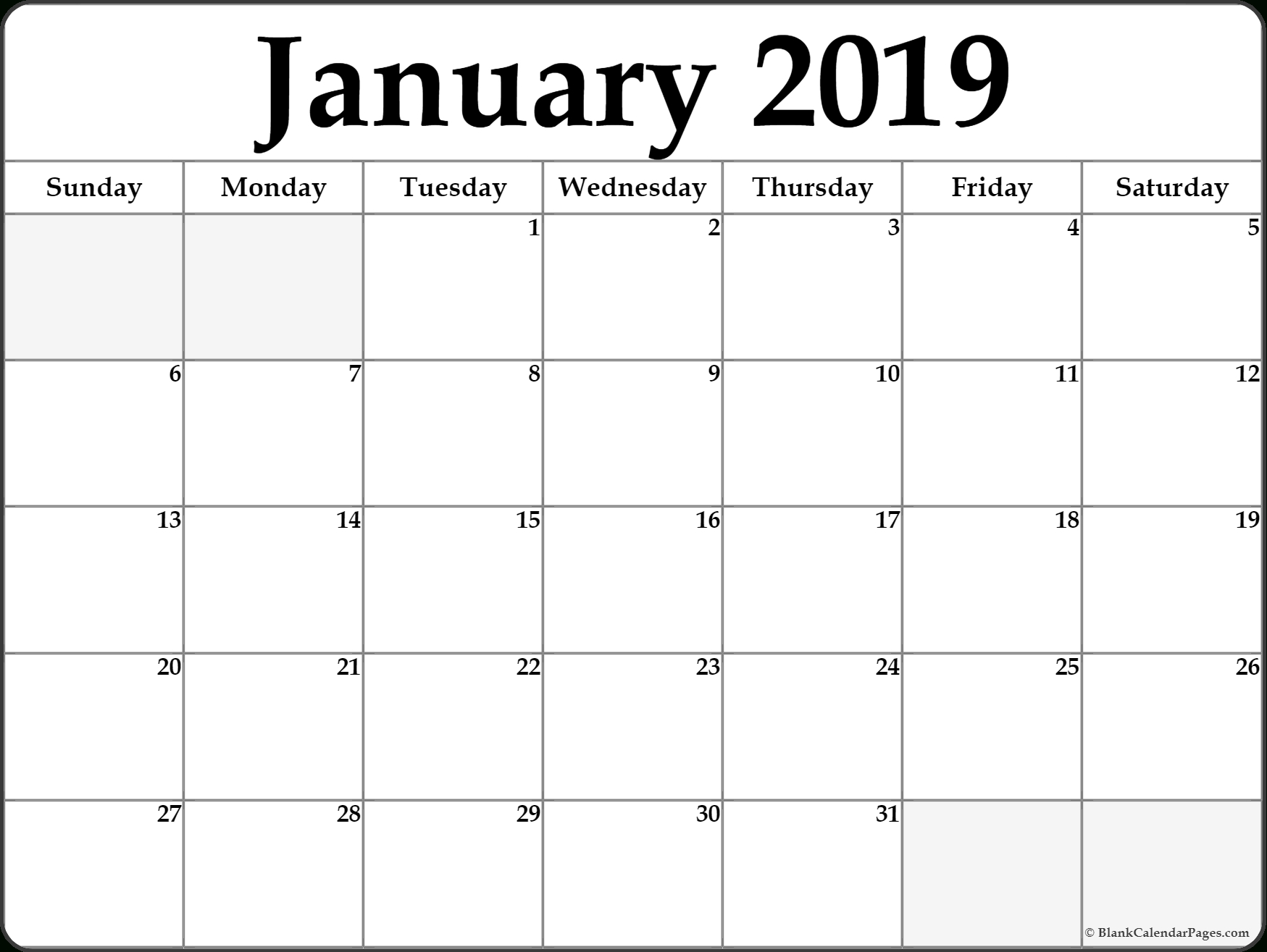 January 2019 Calendar Word - Free Printable Calendar, Blank within Legal Size Printable Monthly Calendar 2020