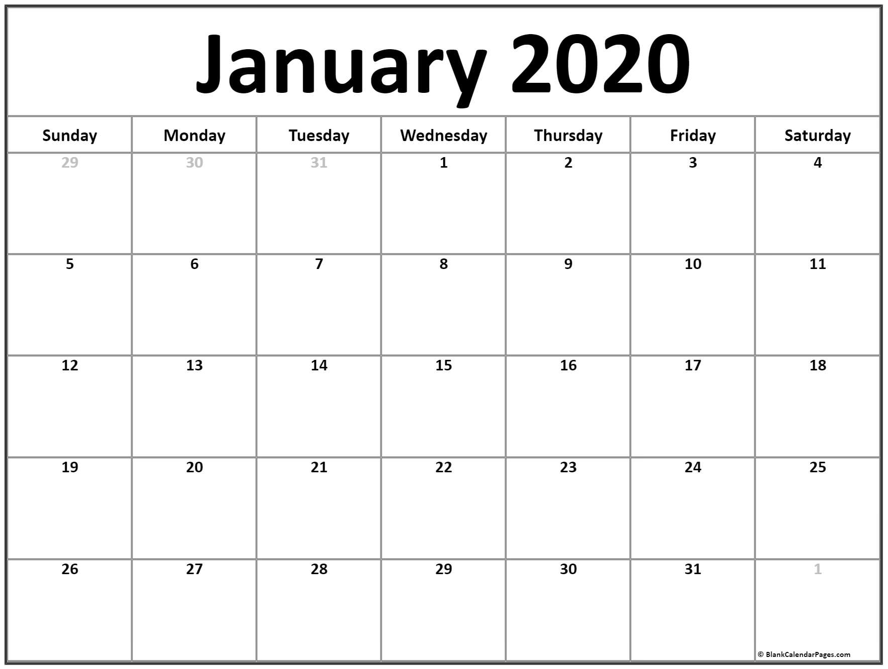 January 2020 Calendar | Free Printable Monthly Calendars regarding Print Free 2020 Calendar Without Downloading Weekly Writing