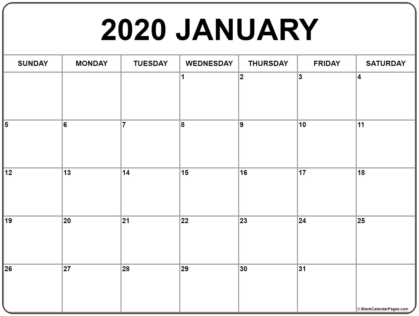 January 2020 Calendar | Free Printable Monthly Calendars throughout Print Free 2020 Calendar Without Downloading Weekly Writing