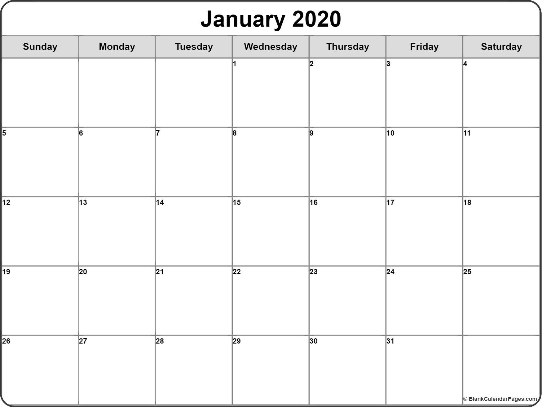 January 2020 Calendar January 2020 Blank Monthly Calendar throughout Free Blank Printable Monthly Calendar 2020