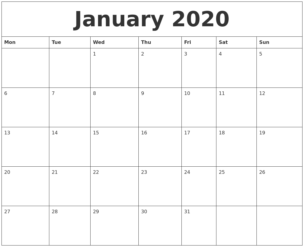 January 2020 Online Calendar Template regarding Online Free Printable Calendar 2020
